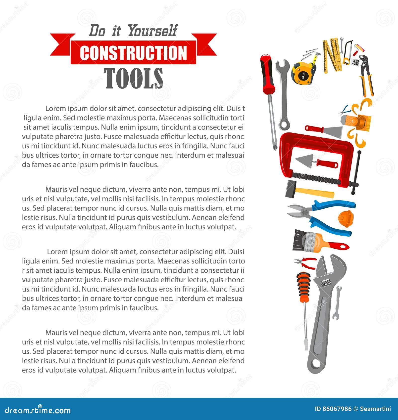 Hand sah mit Arbeitswerkzeugplakat für DIY-Design