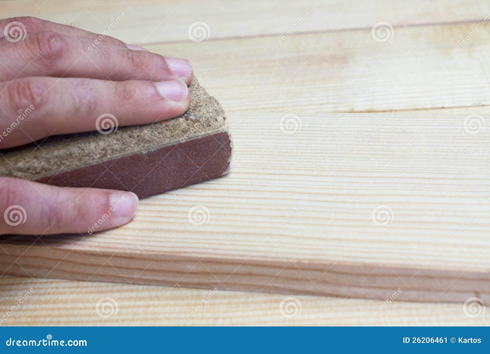 Hand Sanding Wood Stock Image Image Of Craftman Mature