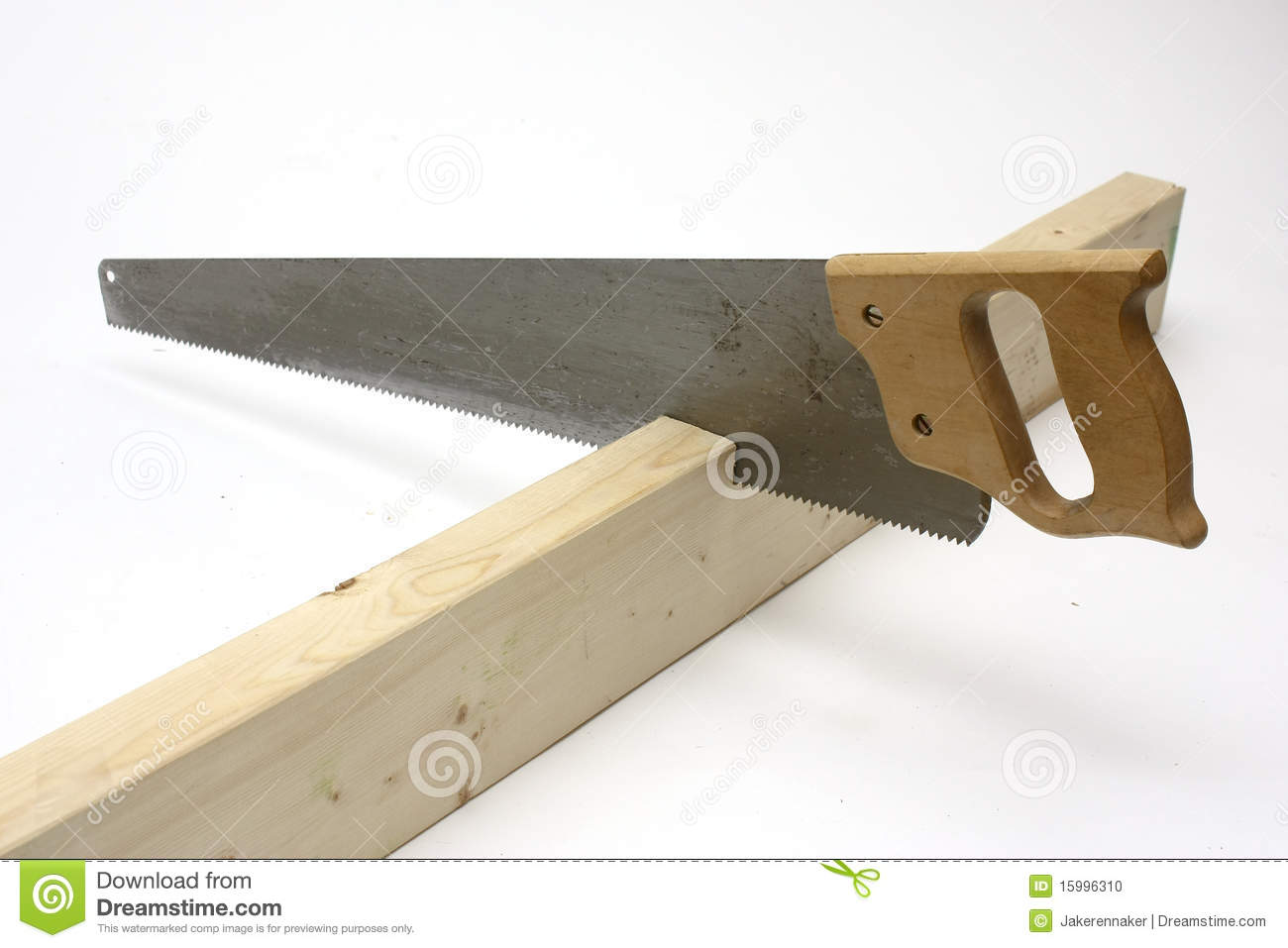 Hand Saw Cutting Wood Stock Photo Image Of Dice Build 15996310