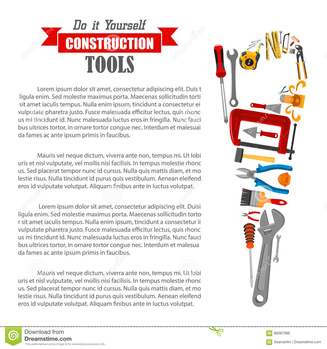 Hand saw with work tool poster for diy design stock vector download hand saw with work tool poster for diy design stock vector illustration of brush solutioingenieria Gallery