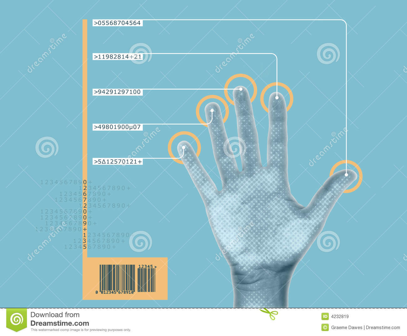 Hand Scan Stock Illustration Image Of Circuit