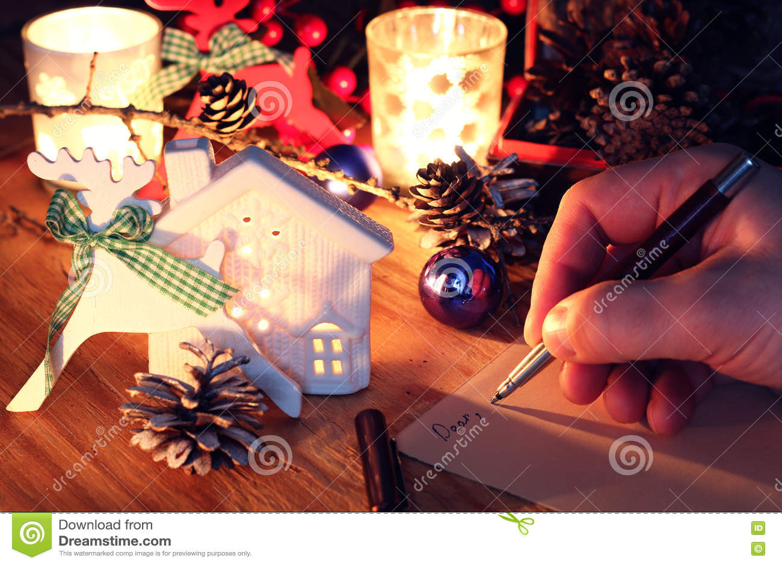 Hand Schreiben Grüße Für Das Neue Jahr Stockfoto - Bild von dezember ...