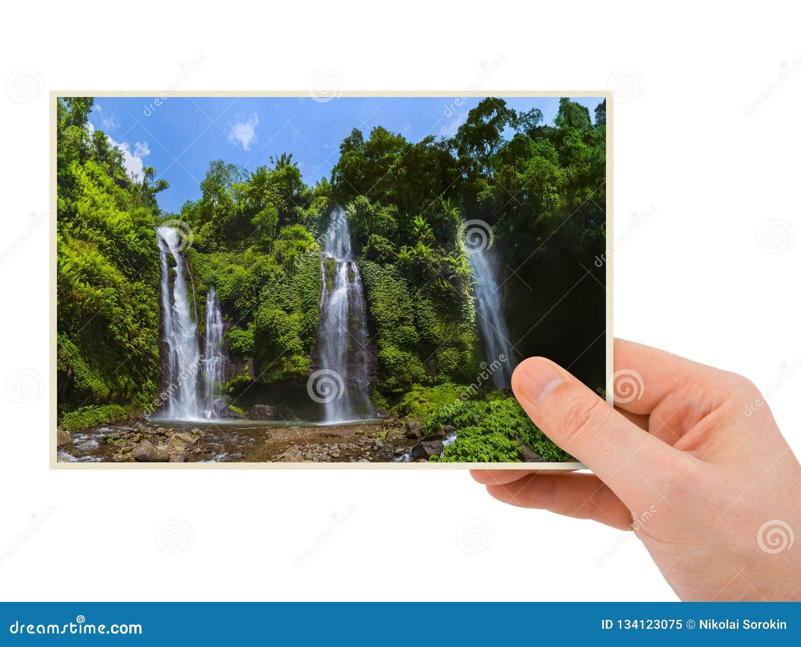 Hand and Sekumpul Waterfall in Bali Indonesia my photo