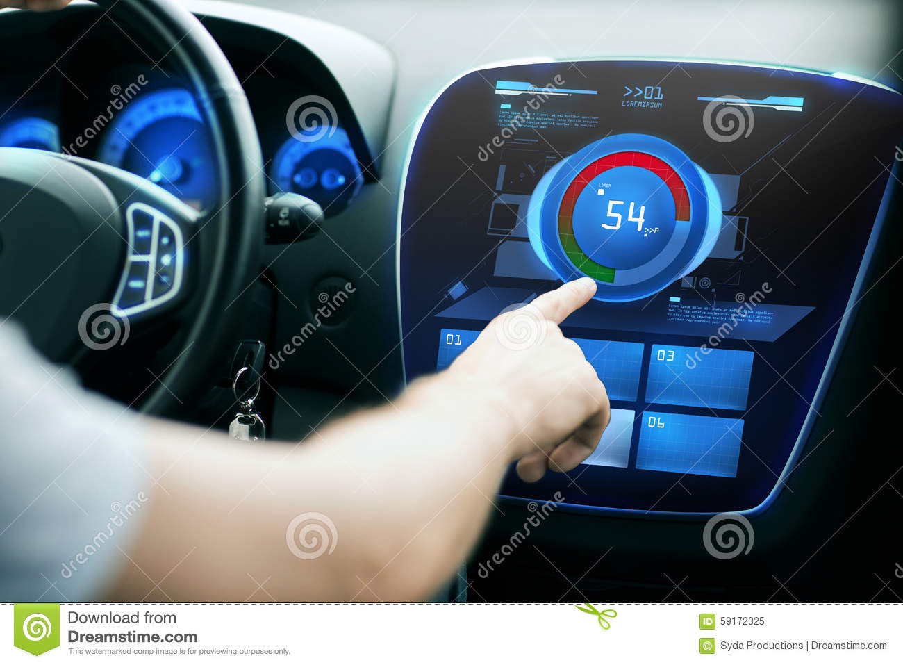 Hand Setting Volume On Car Audio Stereo System Stock Illustration