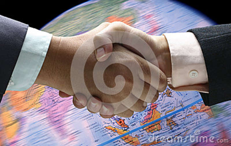 Hand shake background foreign currency