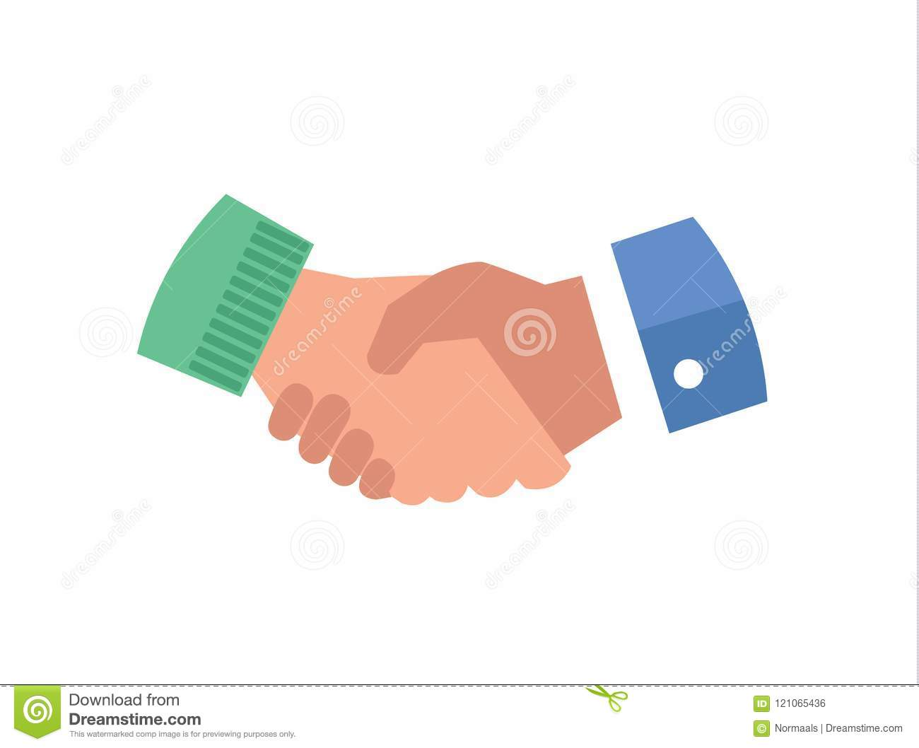 Hand shake flat vector icon illustration. Business partnership cooperation symbol, deal making agreement concept.