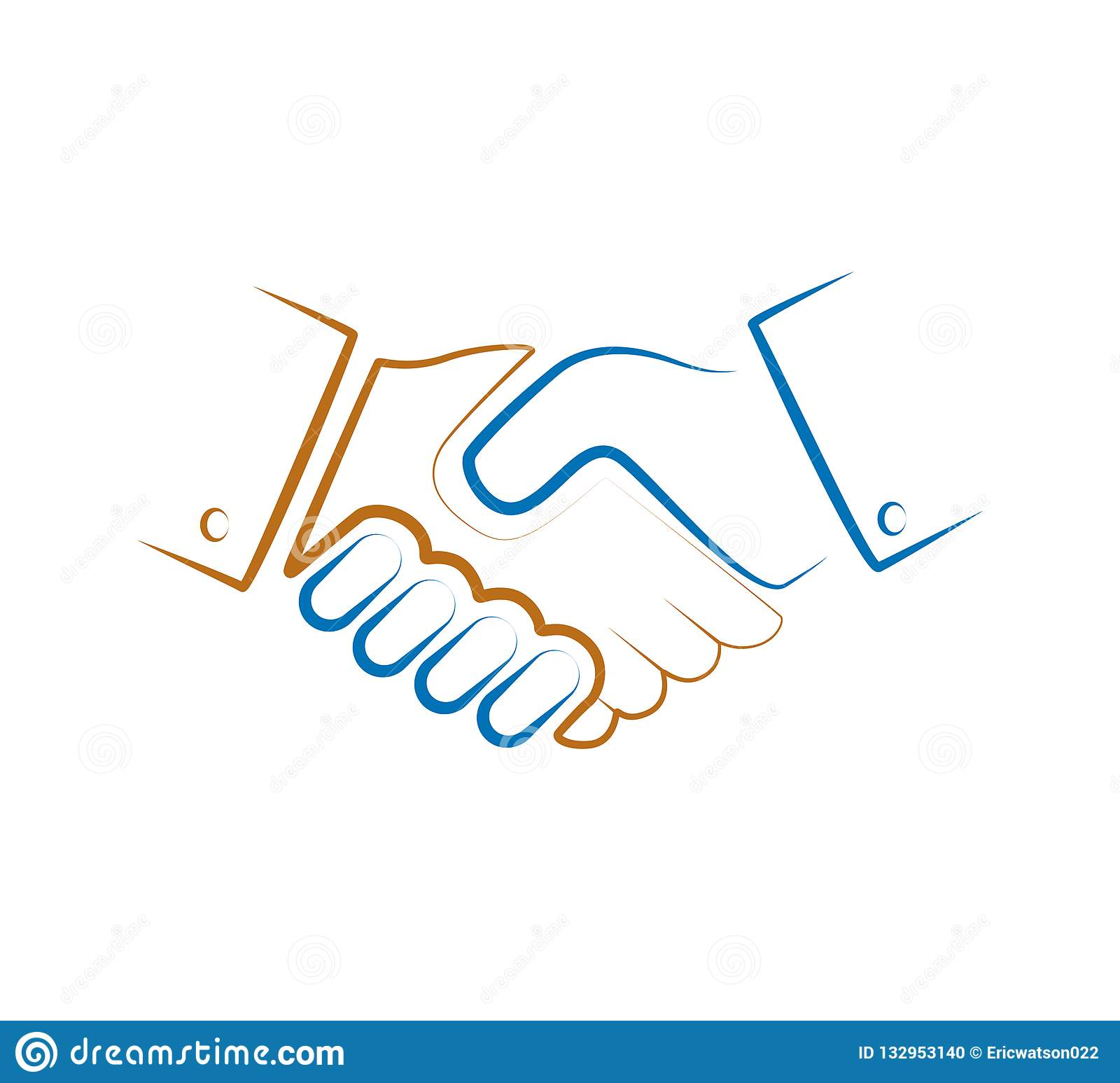 Hand shaking colorful line logo vector