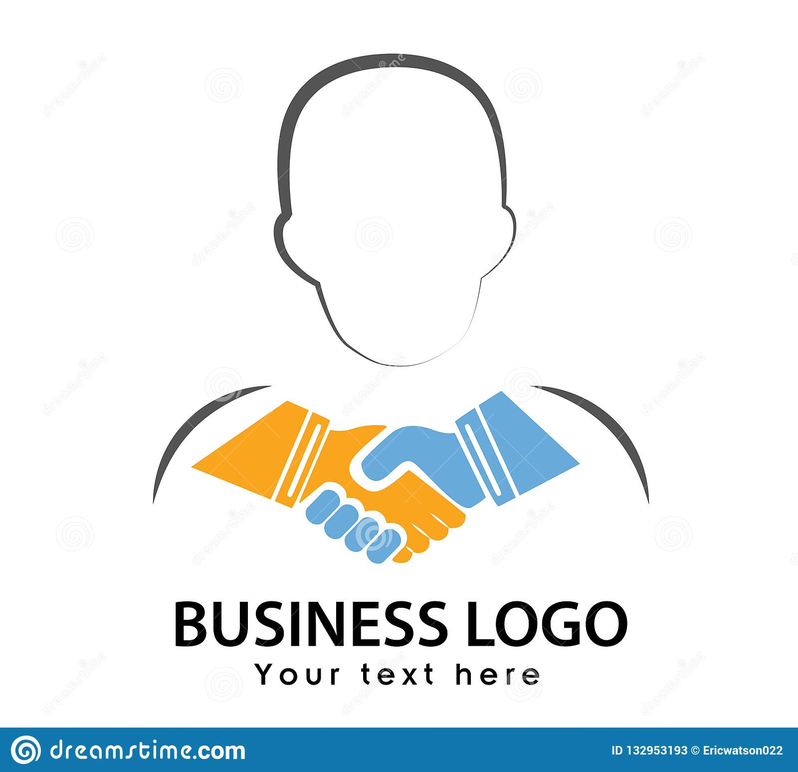 Hand shaking icon with face line shape colorful logo vector
