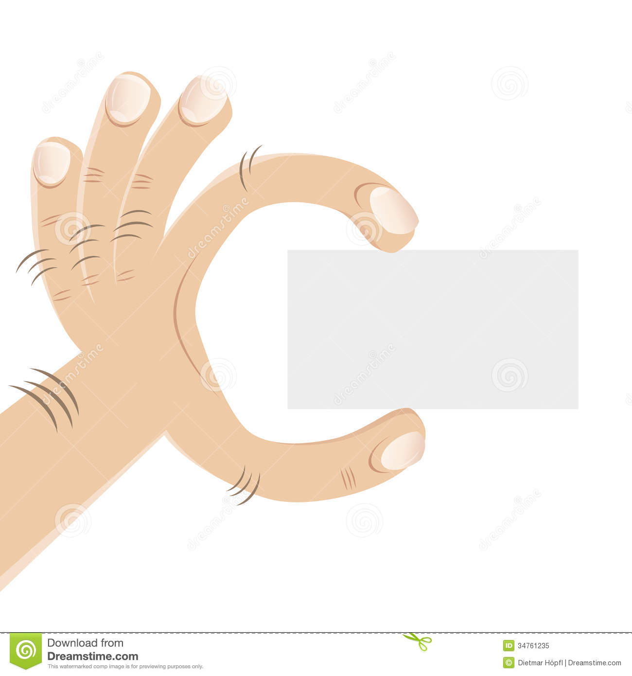 Hand Showing Empty Business Card Stock Vector - Illustration: 34761235