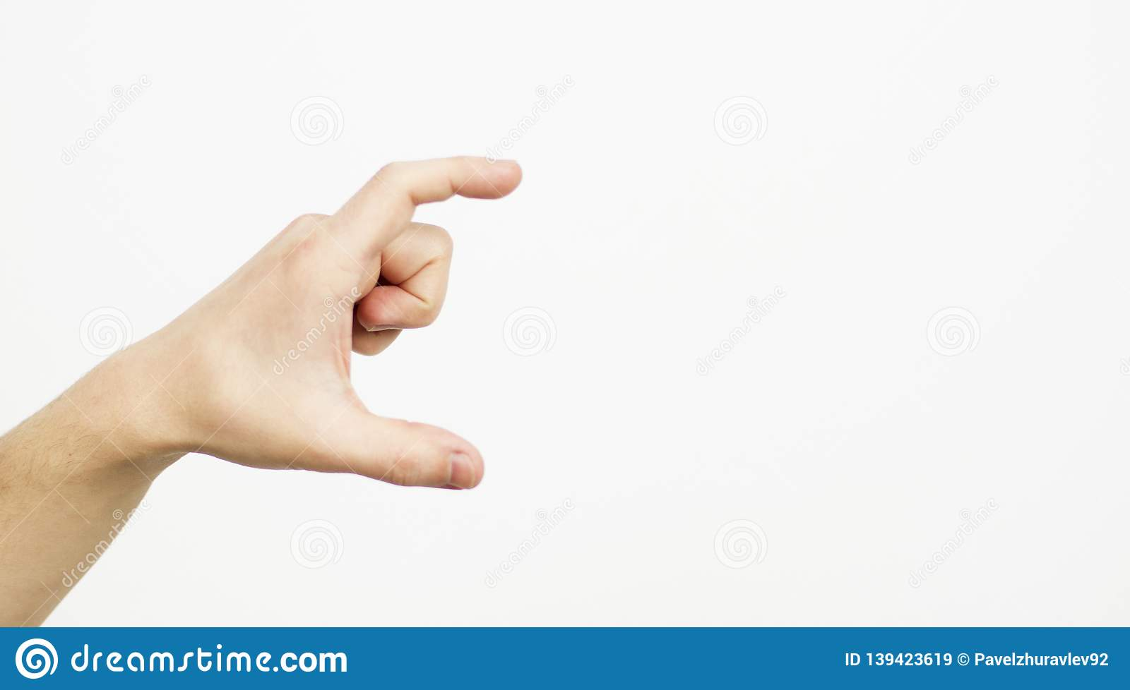 Hand Showing Size Gesture Isolated On White - Copy Space, Blank