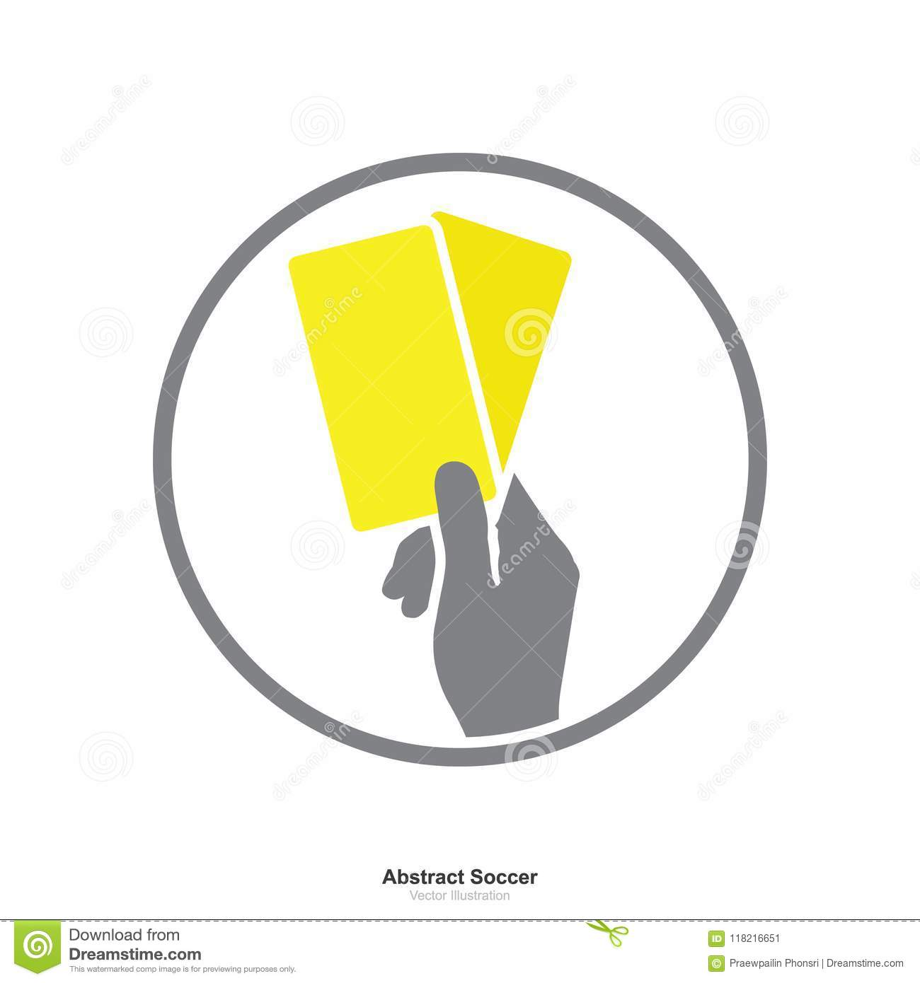 Hand Showing Yellow Card Icon On A White Background Stock Vector