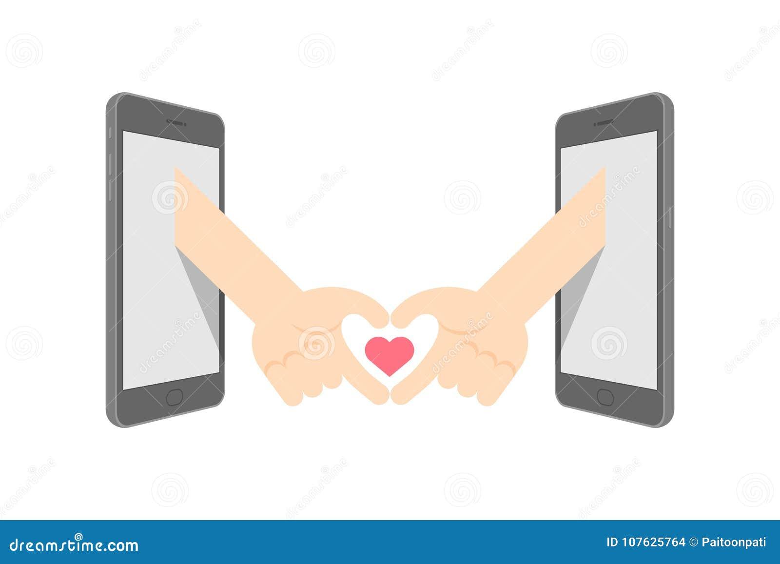 Hand Sign Language Heart Symbol Shape Between Two Smartphone Set