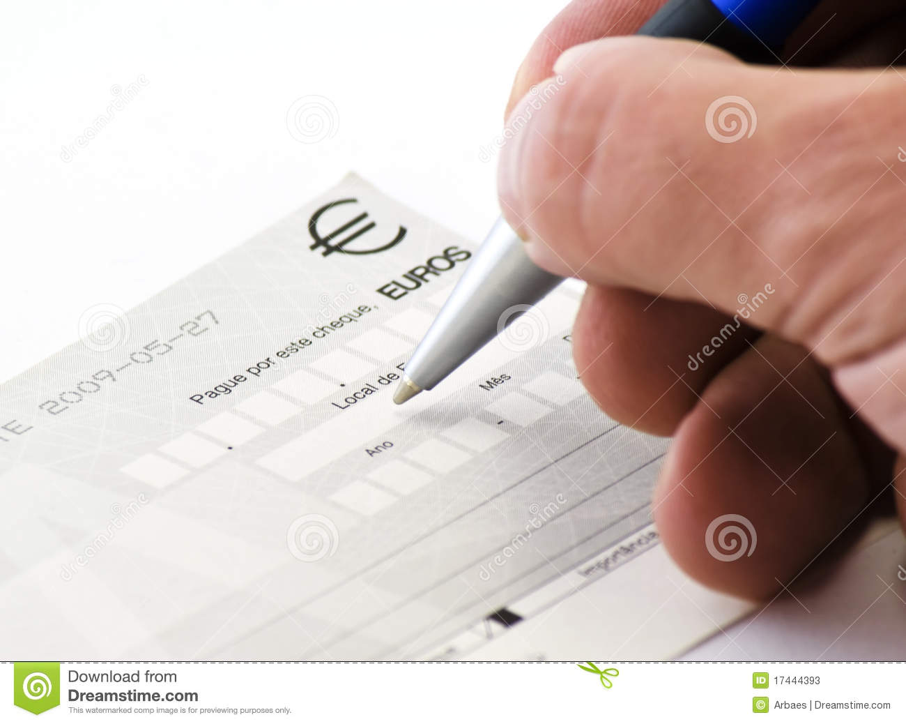 Hand Signing A Check Stock Photos - Image: 17444393