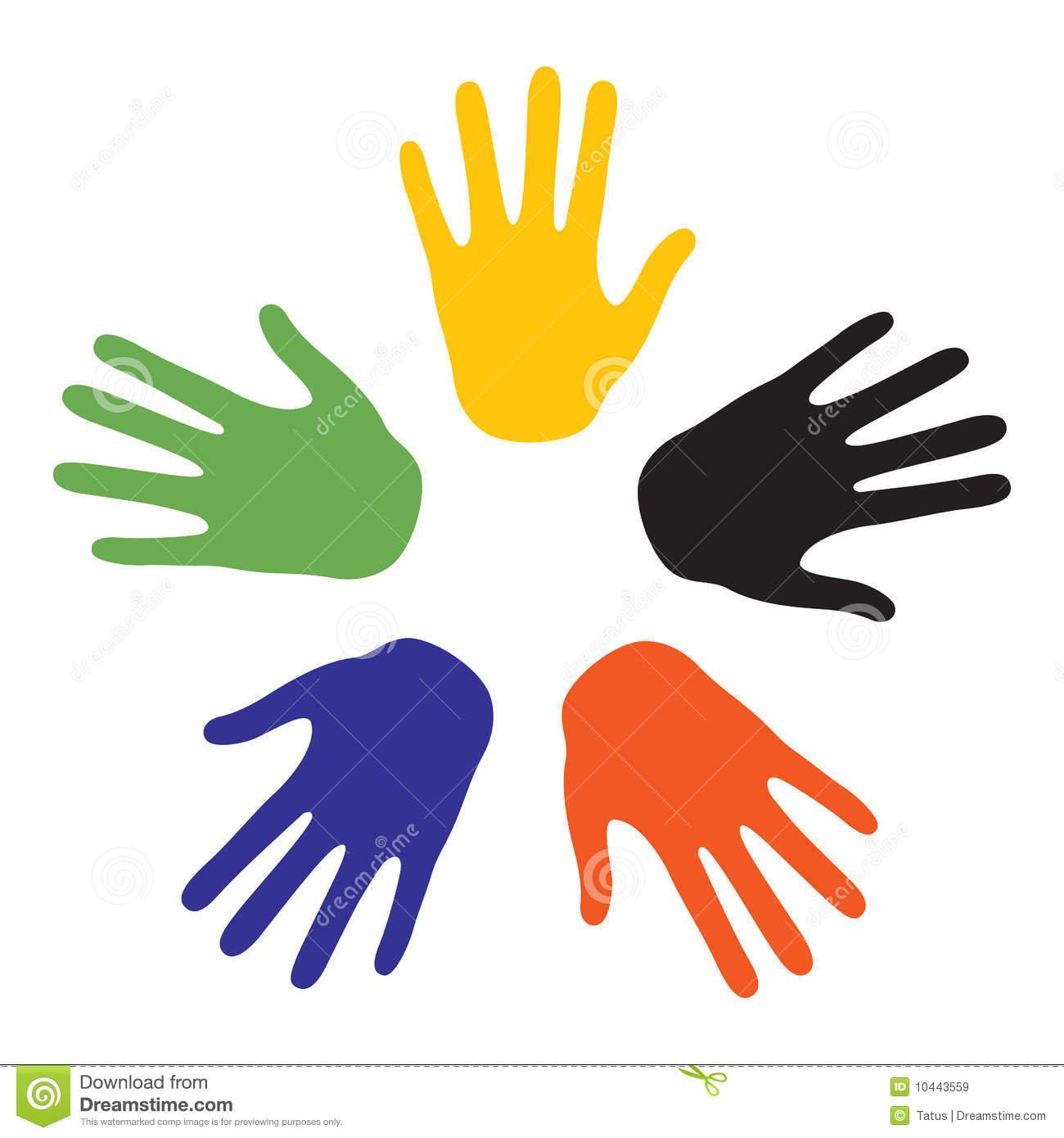 Hand signs with the colors of the five continents. Vector-Illustration ...