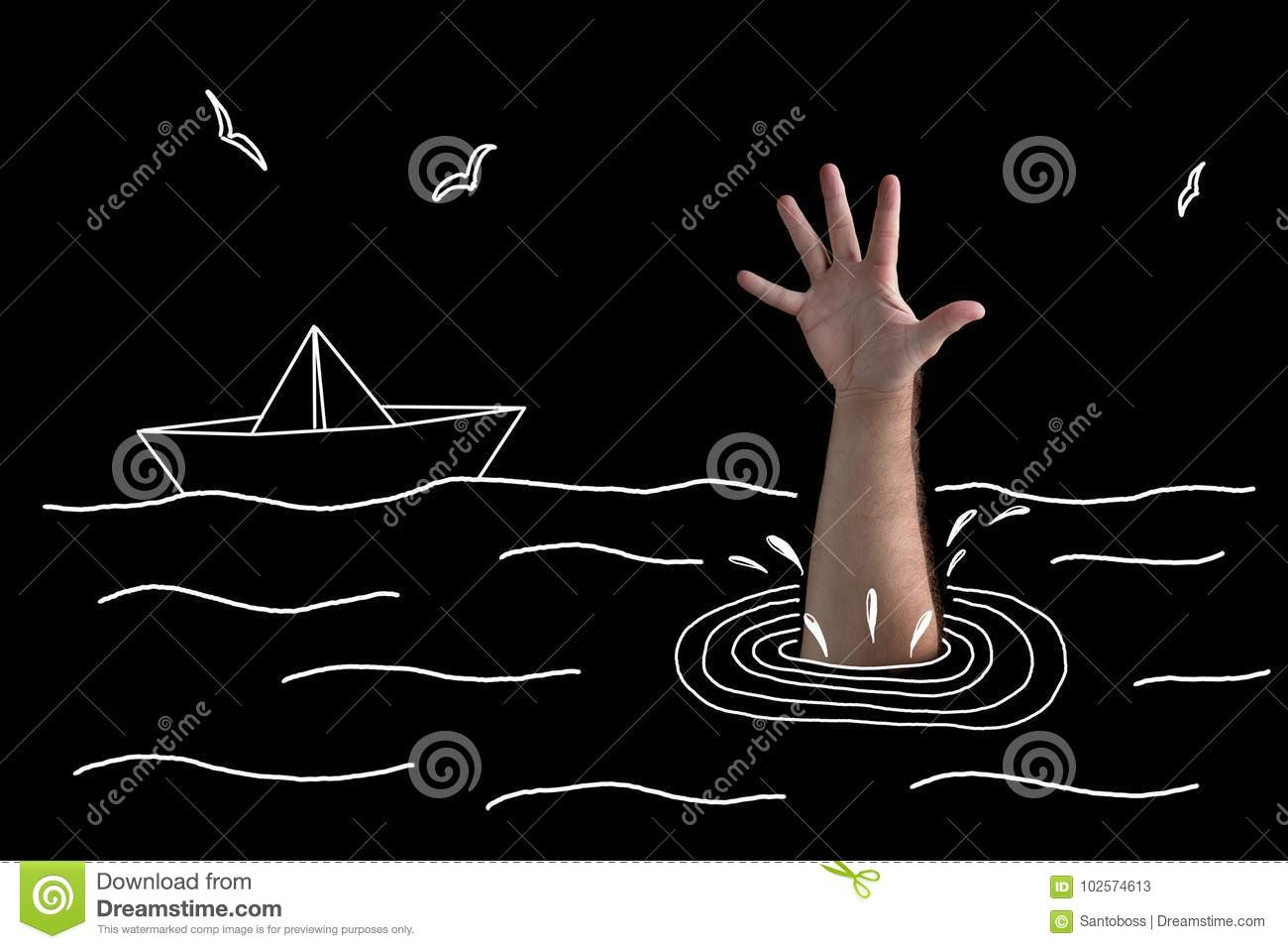 Hand of a sinking man in black water