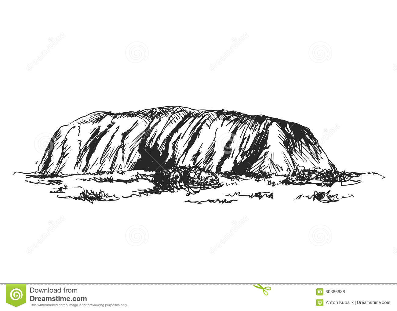 Hand Sketch Ayers Rock Editorial Stock Photo Image 60386638