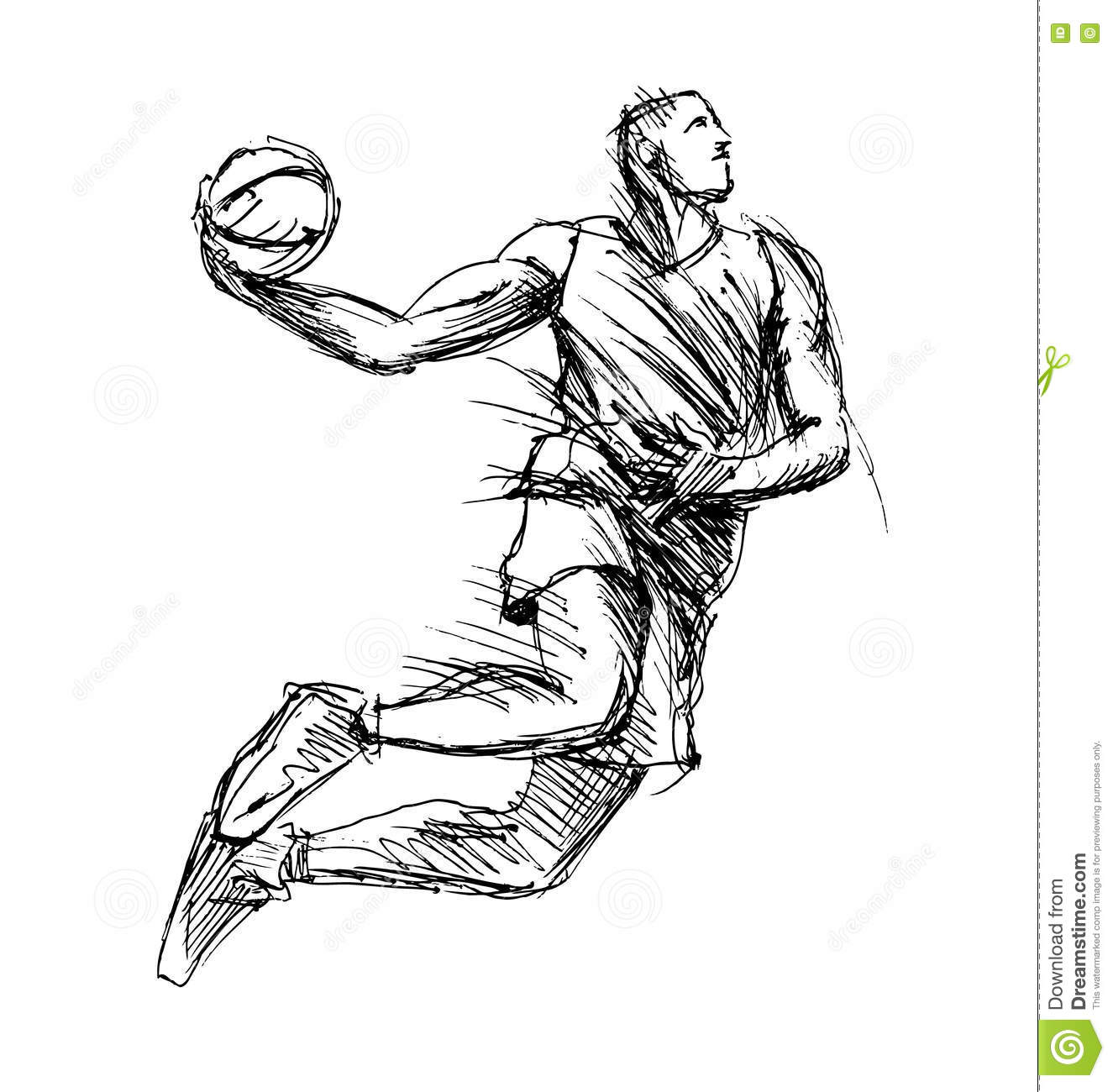 Hand Sketch Basketball Player Stock Vector - Illustration Of Human Basket 71879951