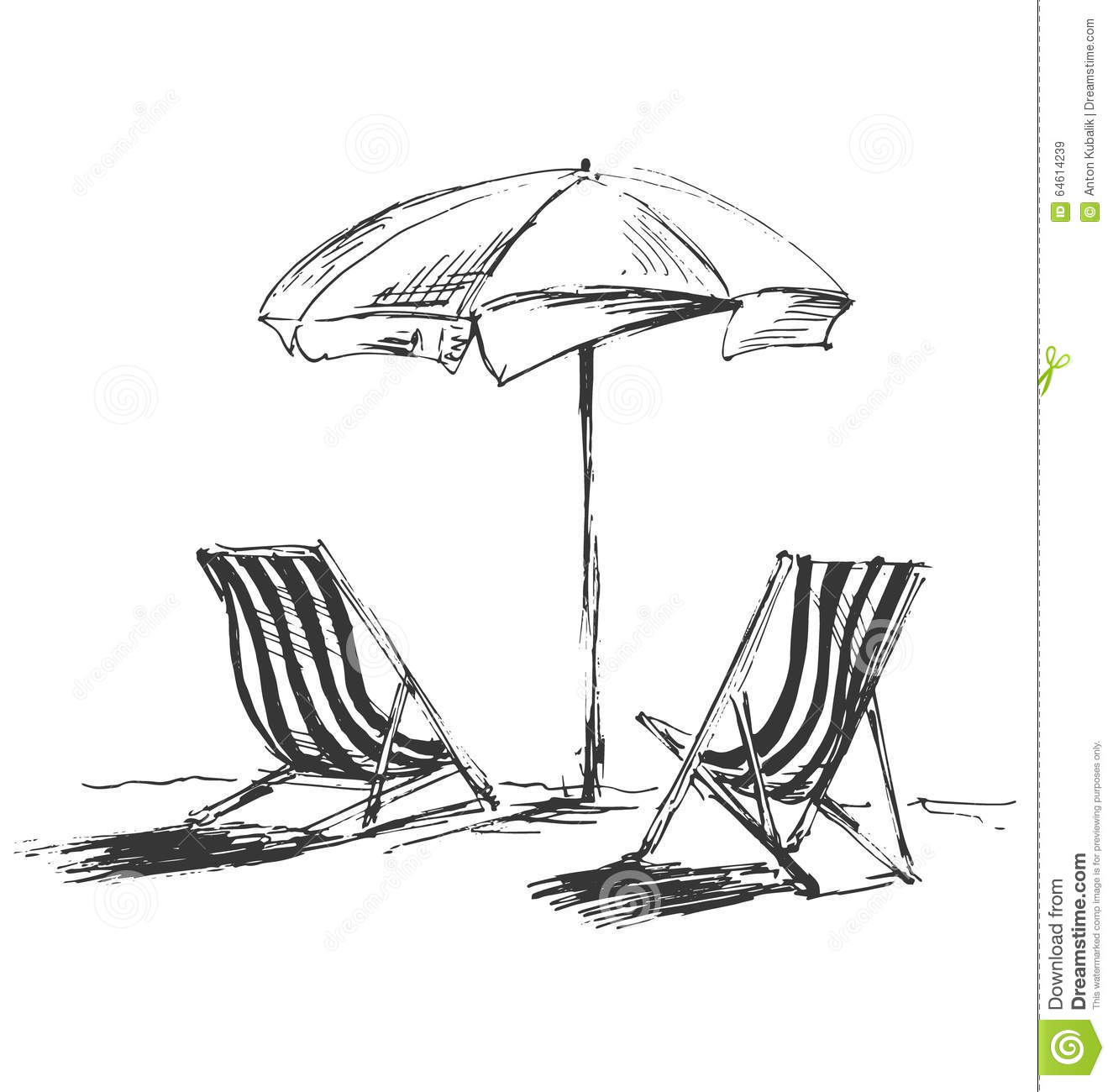 Beach lounge chair drawing - Hand Sketch With Beach Chairs And Parasols Stock Vector