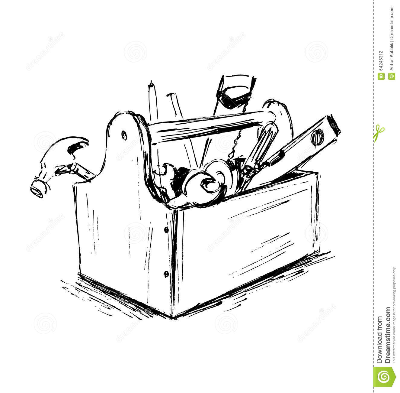 Hand Sketch The Box With Tools Stock Vector Image 64246312