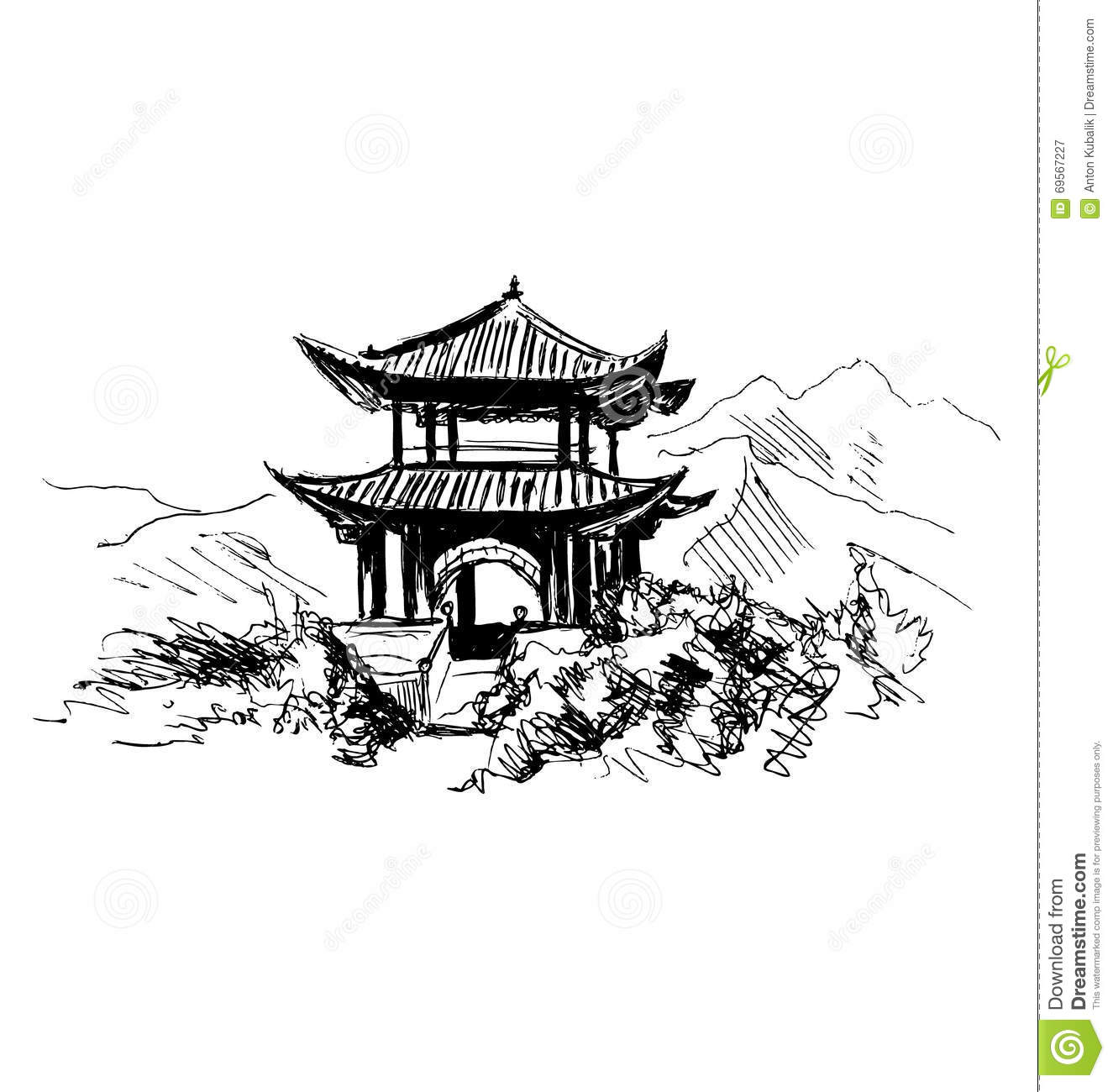 Hand Sketch Chinese Landscape Stock Vector Image 69567227