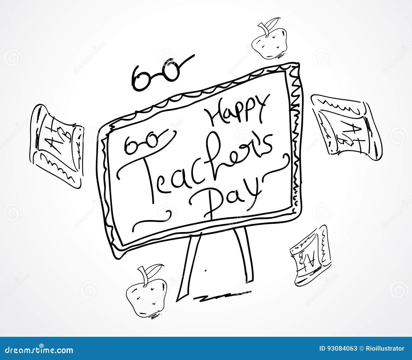 Hand Sketch Happy Teachers Day Card Design Stock Vector