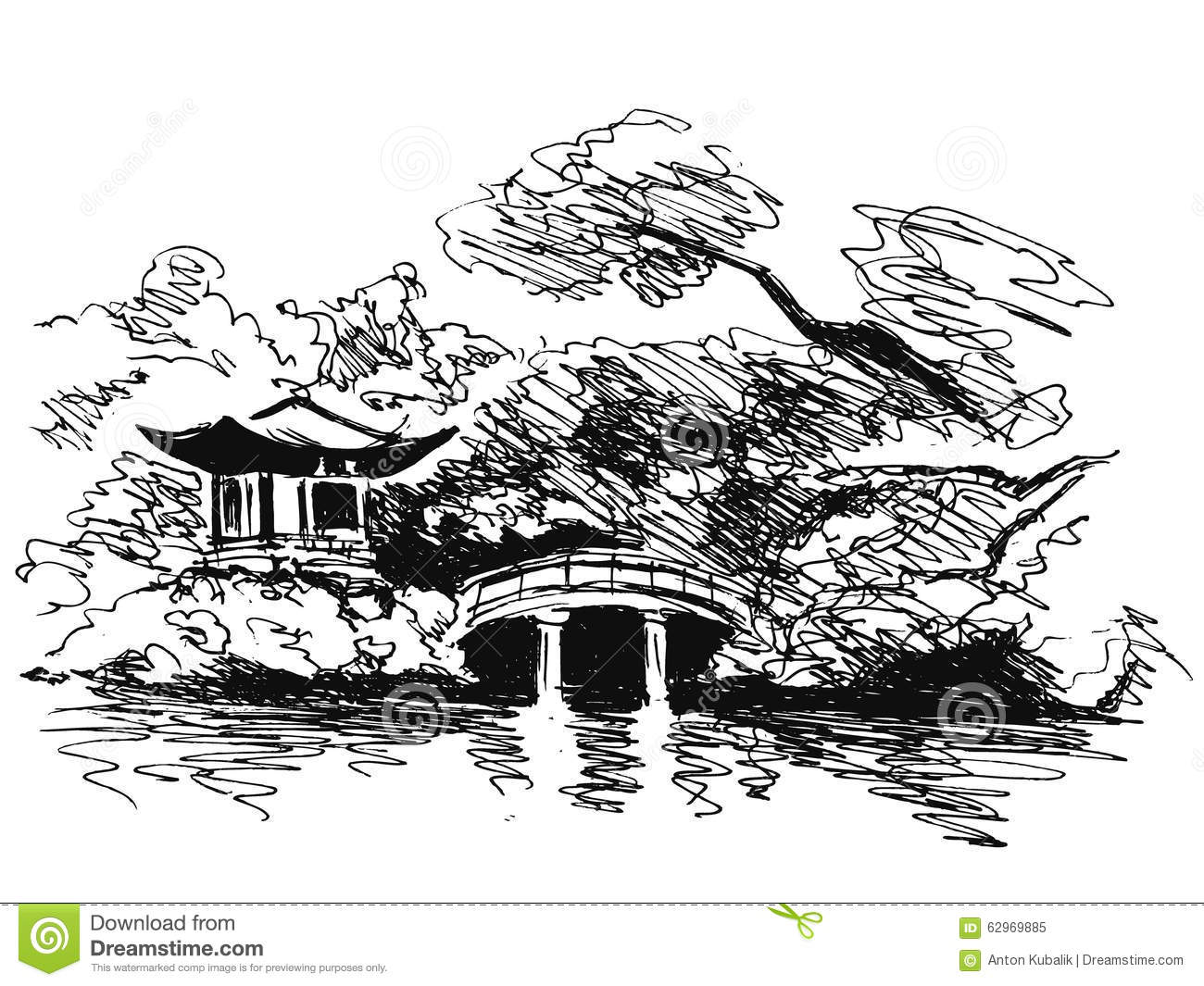 royalty free vector download hand sketch japanese garden