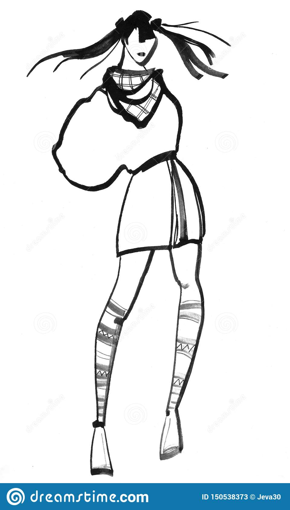 Hand Sketch of the Model in Lines