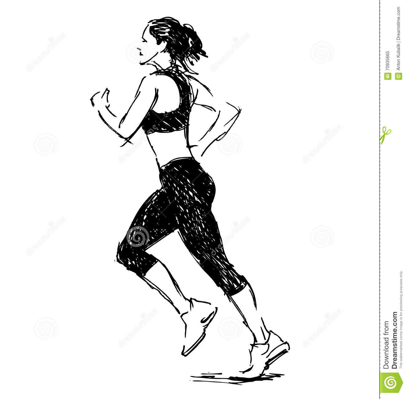 Hand Sketch Of A Running Woman Stock Vector Image 70935665