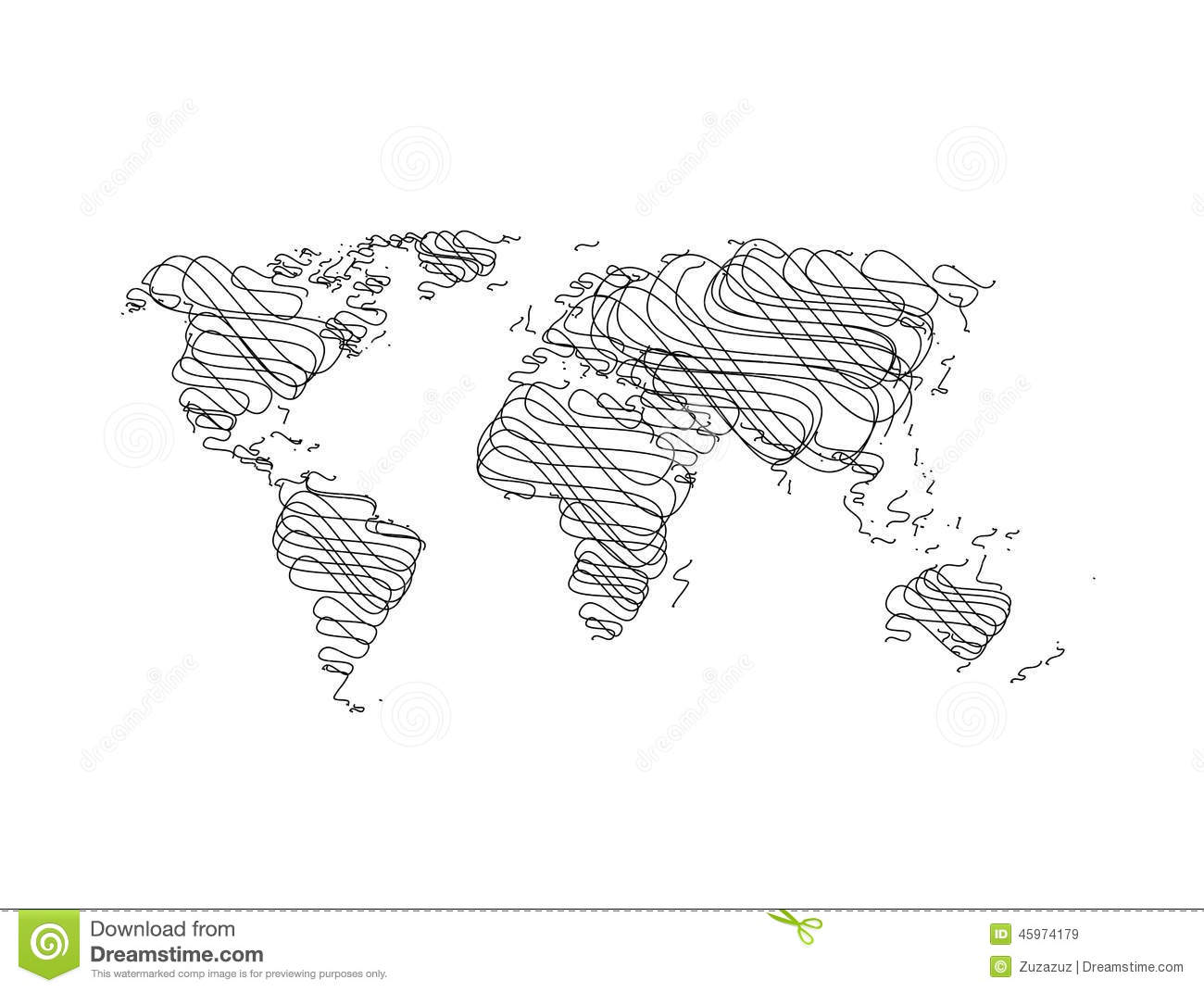 hand sketch world map royalty free vector