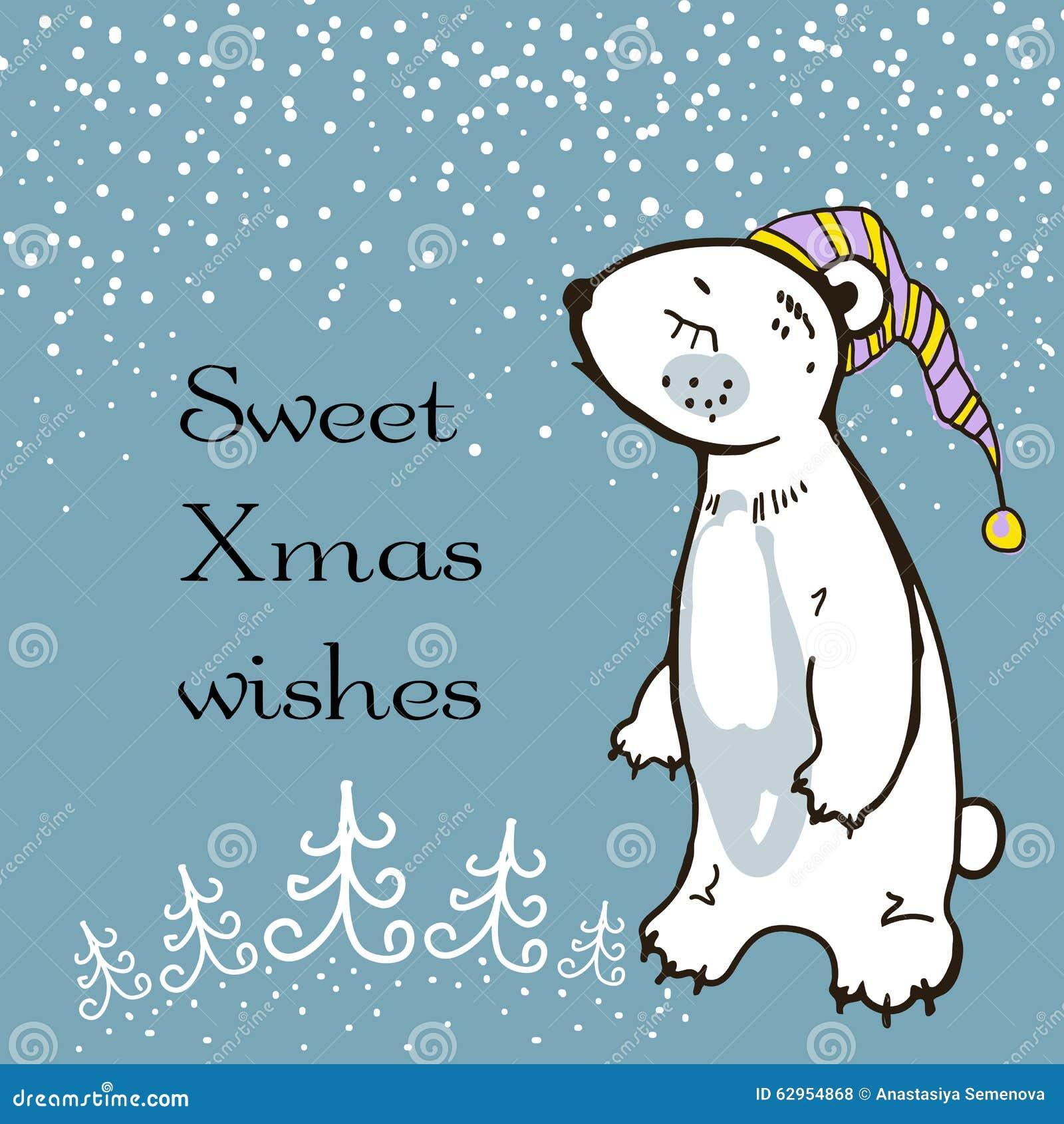 Hand Sketched Greeting Card With Sleepy Teddy-Bear. Christmas Vector ...