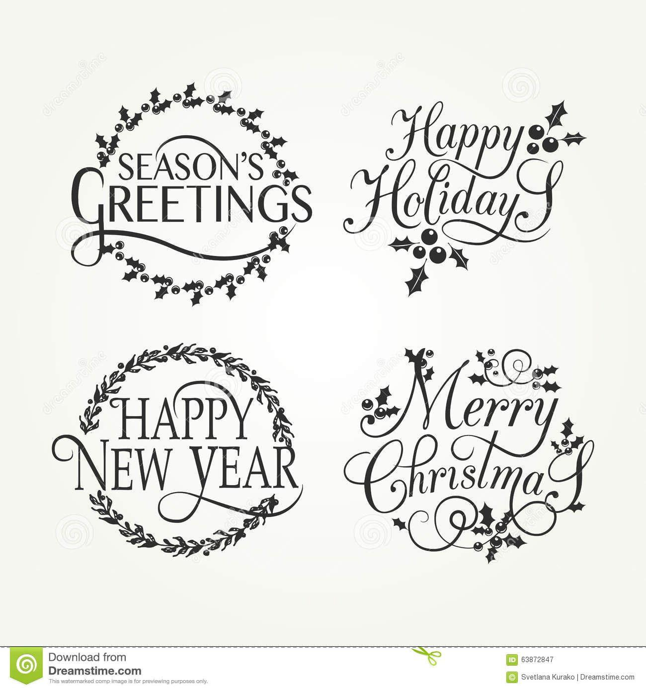hand sketched happy holidays badge and icon set stock