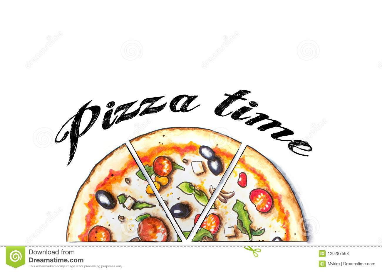 Download Hand Sketched Pepperoni Pizza Stock Illustration - Illustration of cooking, margarita: 120287568