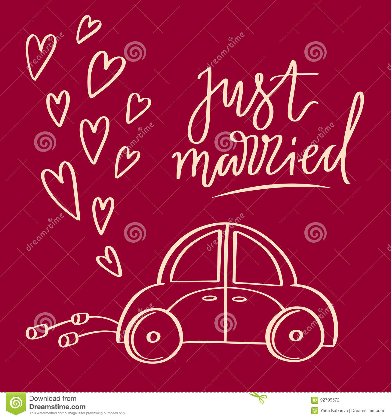 Hand Sketched Vector Wedding Symbol Just Married Lettering And Car