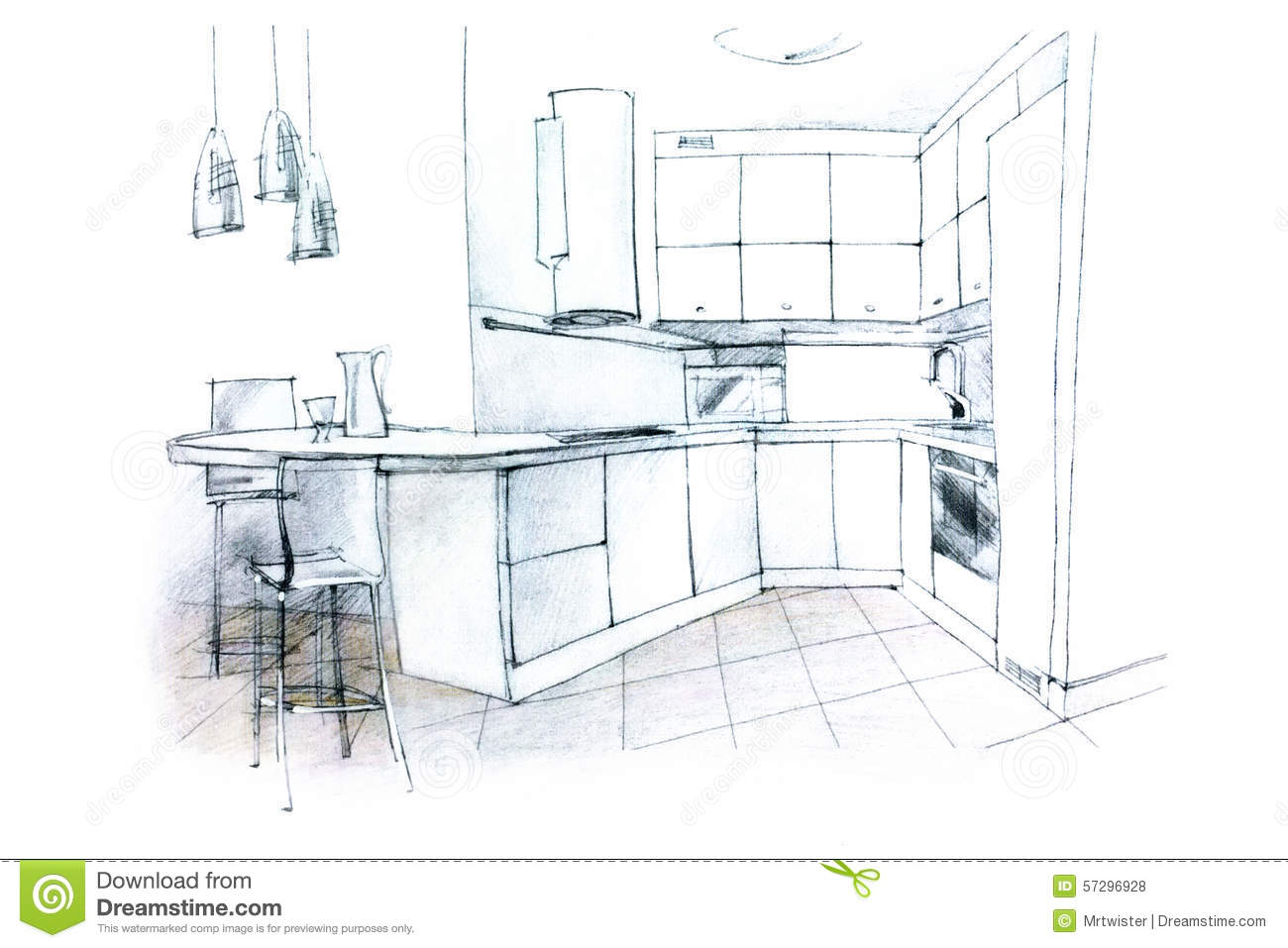 Hand sketching of a kitchen interior stock illustration for Interior designs kitchen sketches
