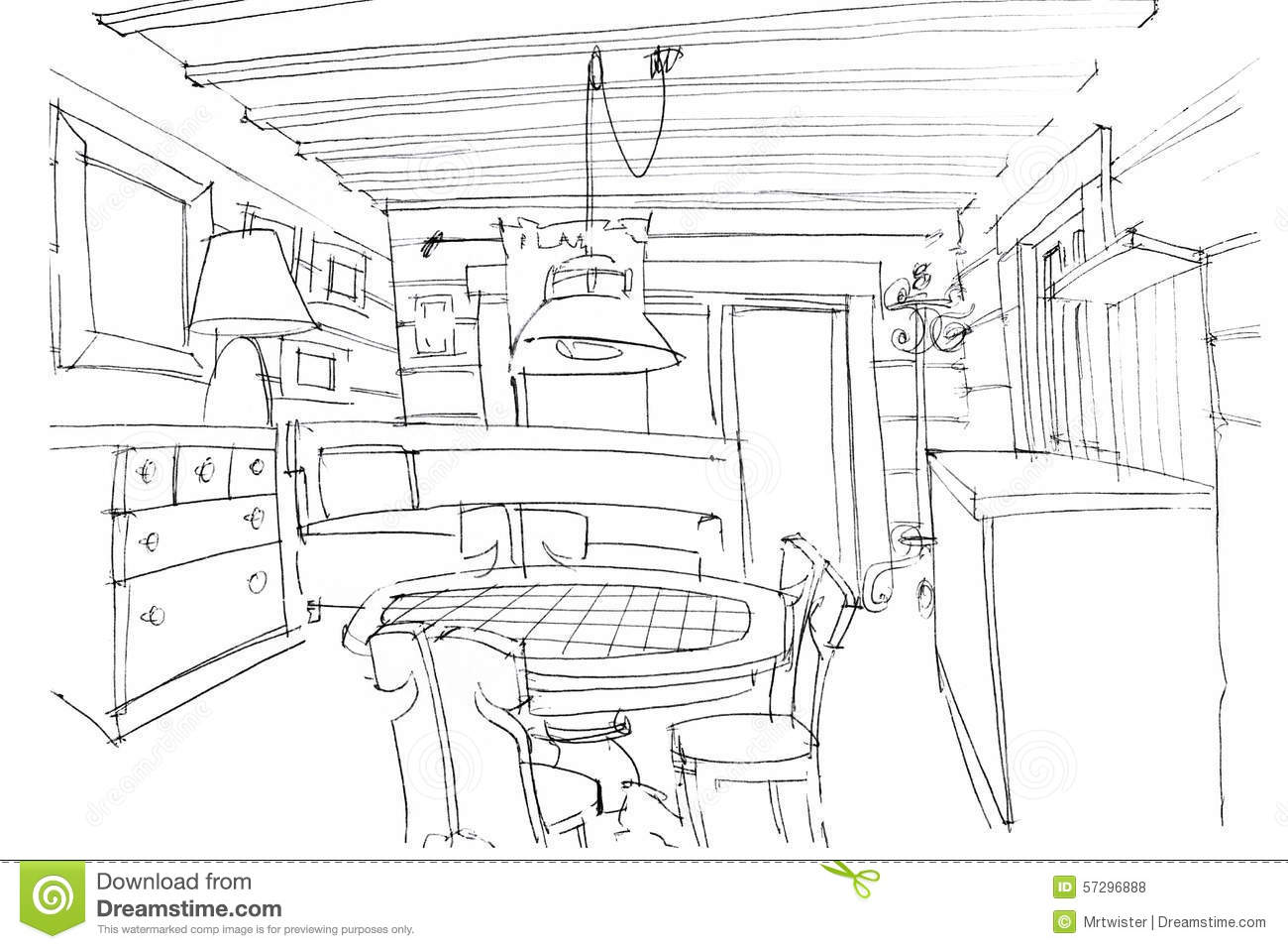 Hand Sketching Of A Modern Kitchen Interior Stock