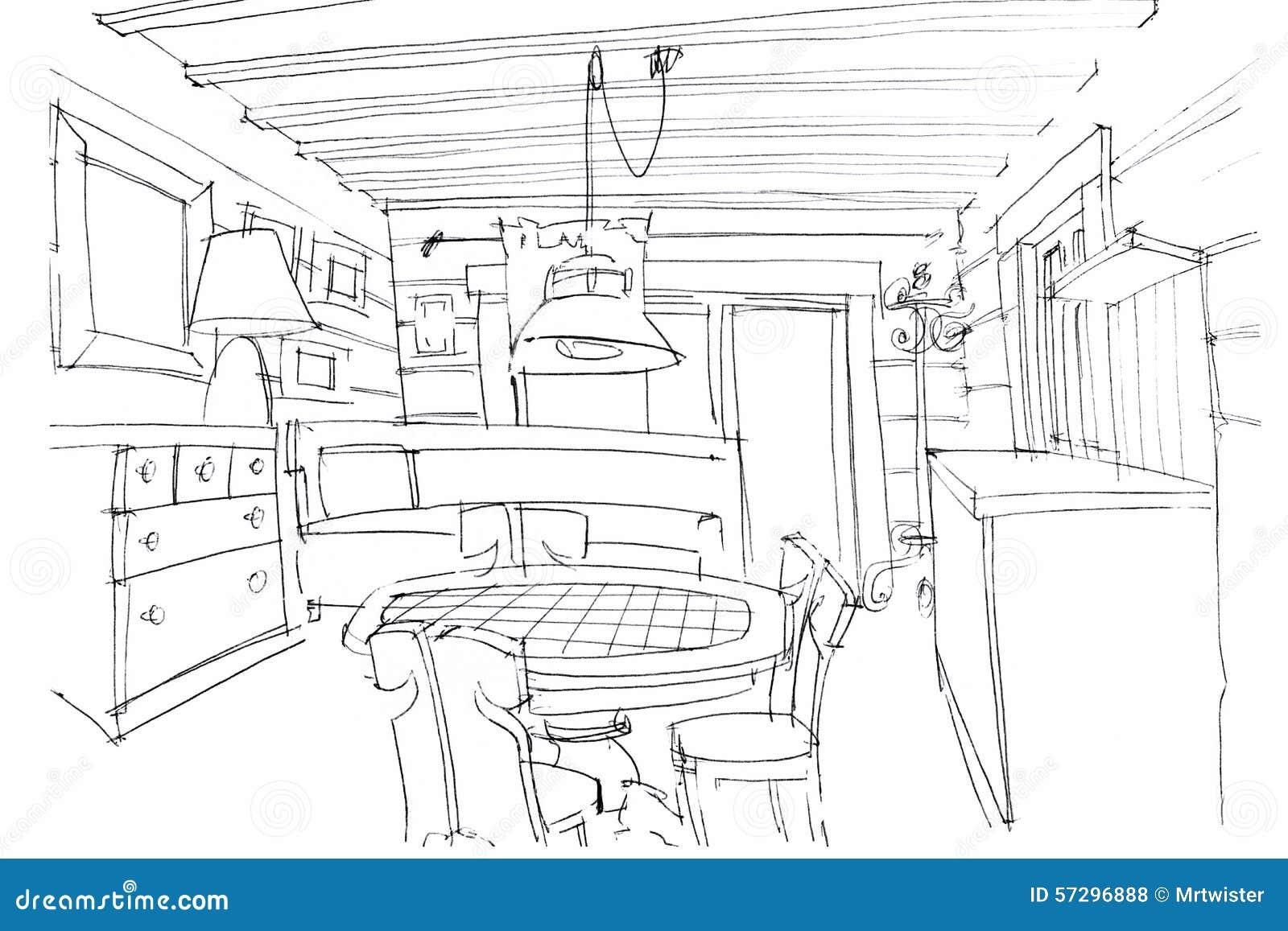Hand sketching of a modern kitchen interior stock for Interior designs kitchen sketches