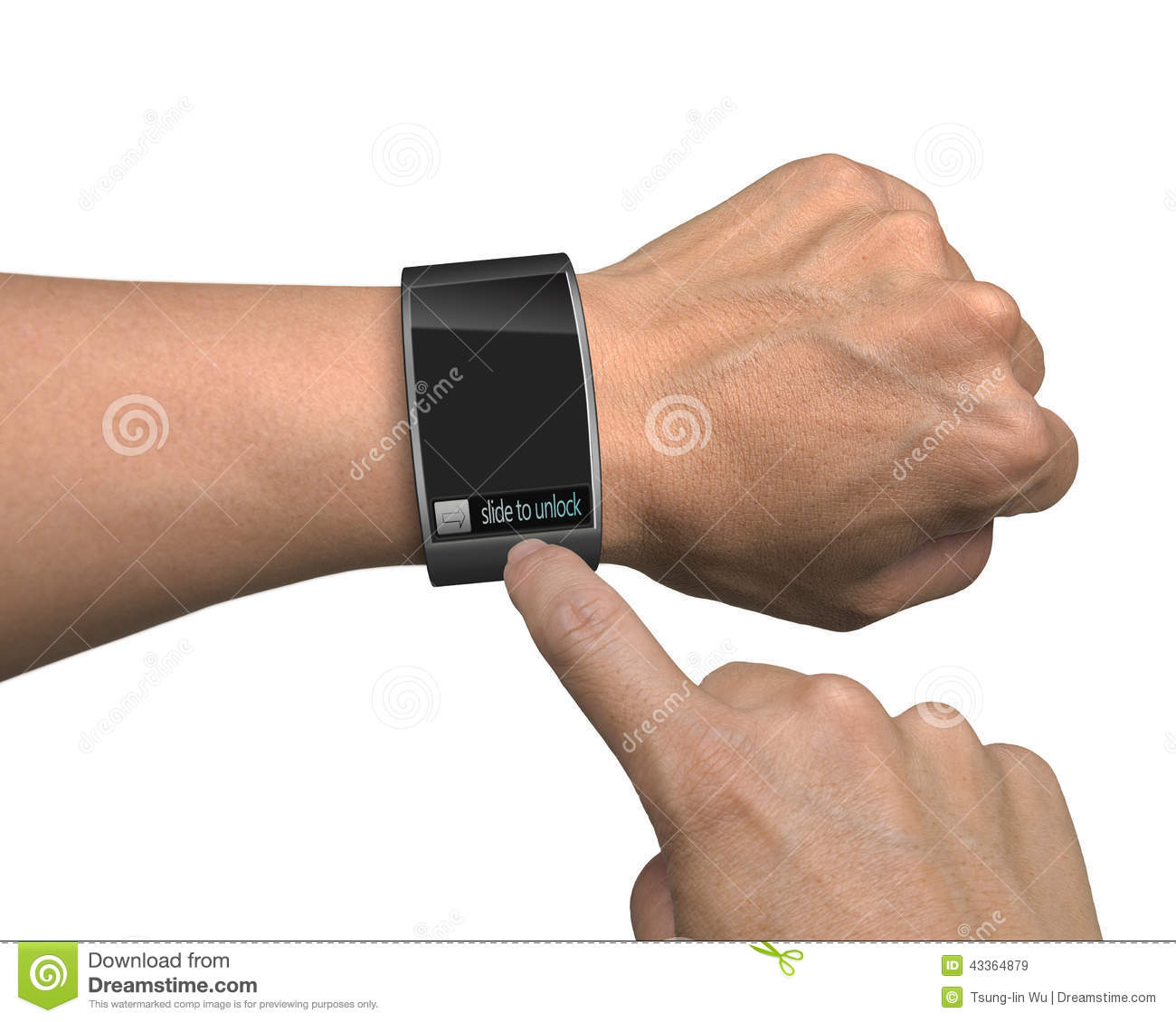 Hand With Smart Watch And Finger Touch Screen Stock ...