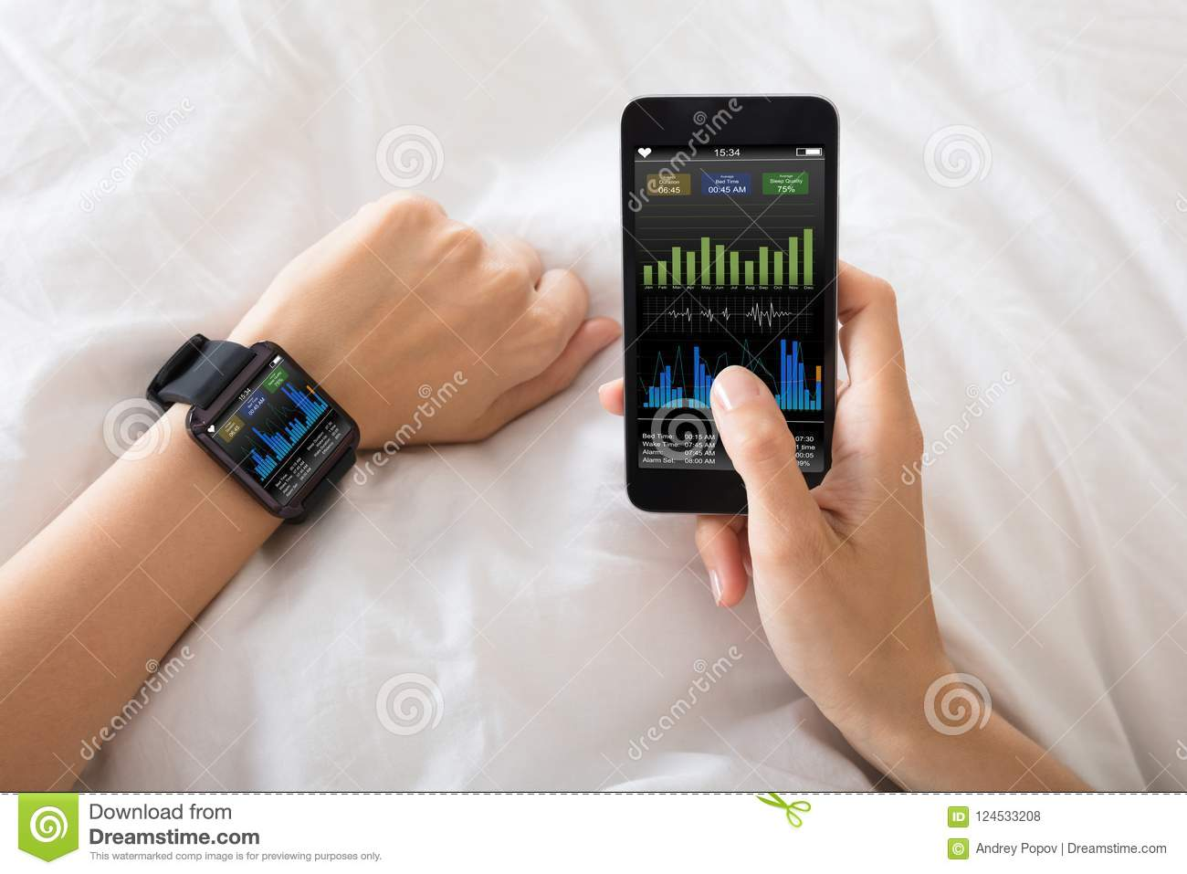 Hand With Smart Watch Showing Heart Beat Rate