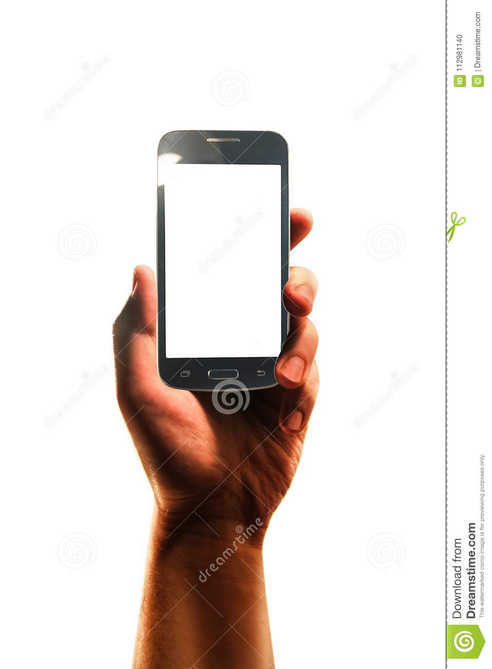 Hand with smartphone isolated in white background