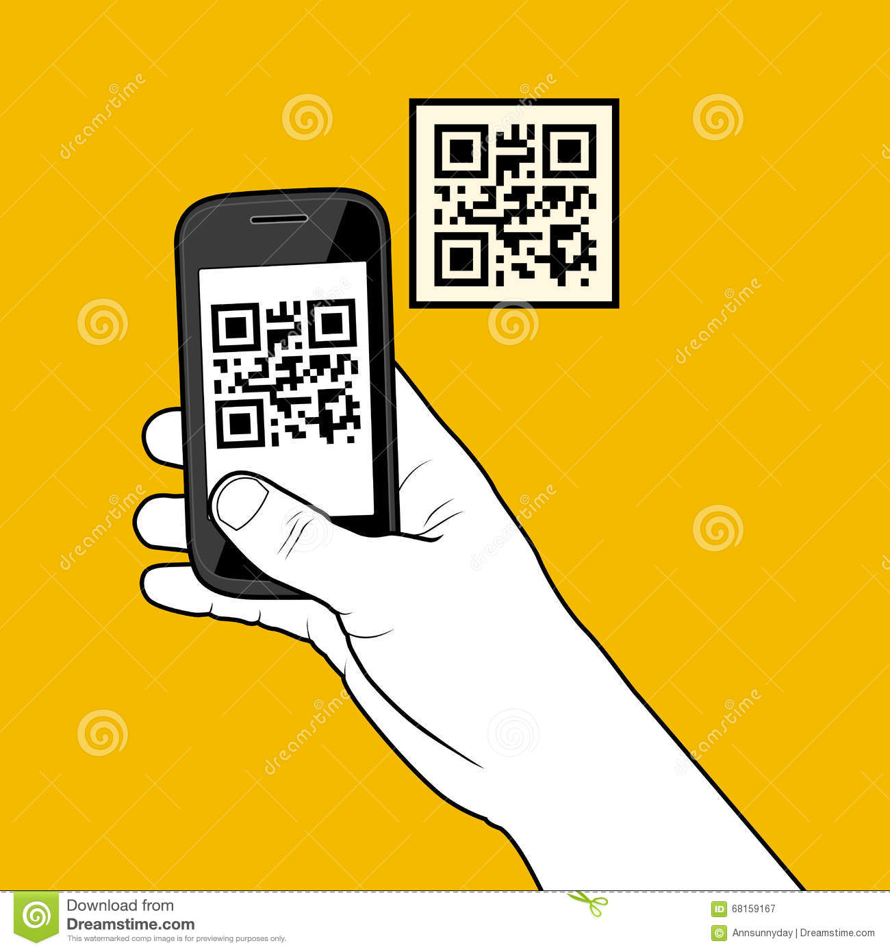 Hand With Smartphone Taking A QR Code Stock Photo