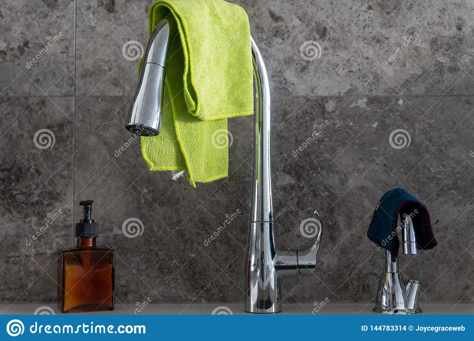 Hand Soap Pump Chrome Kitchen Sink Faucet Filtered Water Tap With Microfibre Cloths And Grey Marble Stone Tile Backsplash Stock Photo Image Of Home Green 144783314