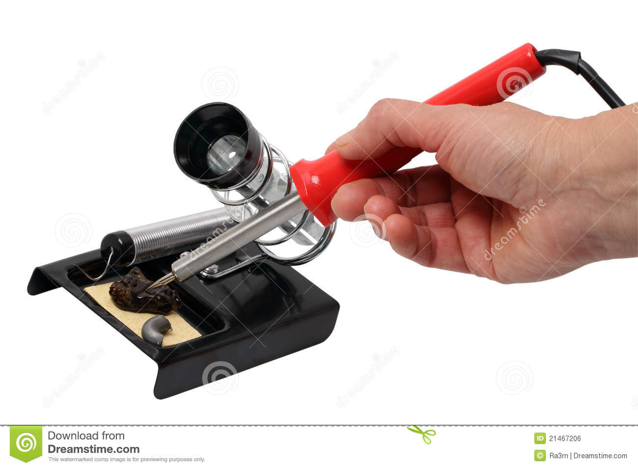 hand with a soldering iron royalty free stock image image 21467206. Black Bedroom Furniture Sets. Home Design Ideas