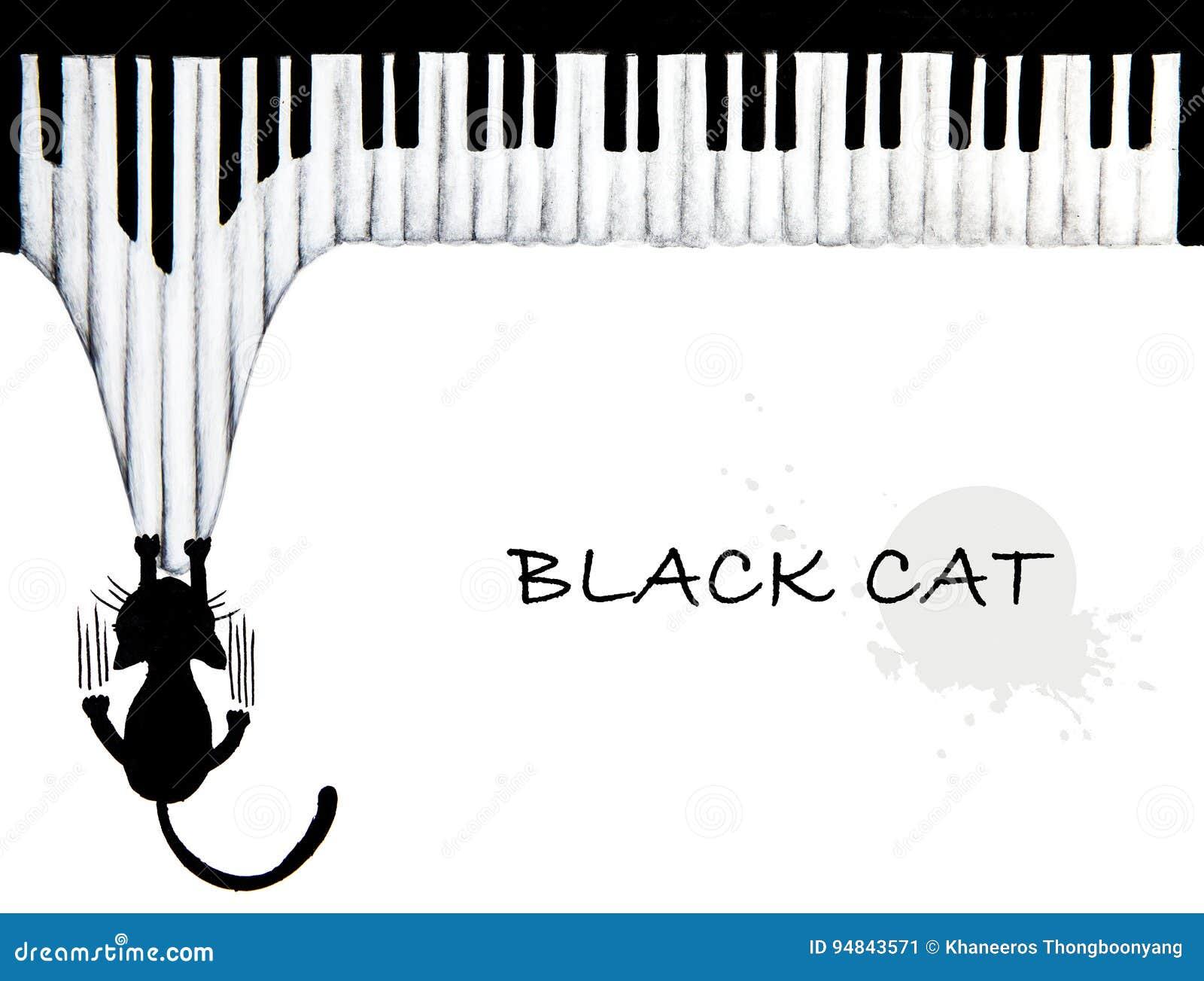 Hand som dras av den svarta katten som skrapar pianot