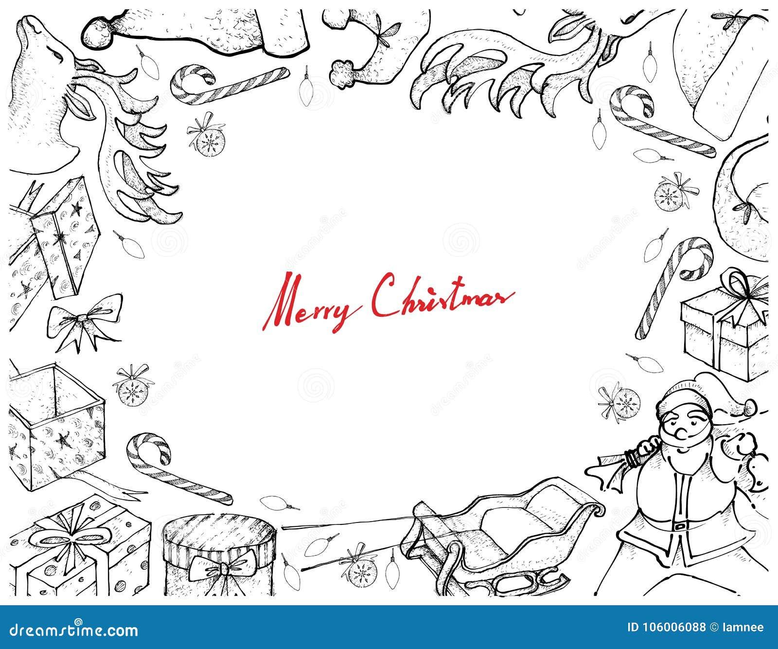 Hand som dras av Santa Claus med släde- och gåvaramen