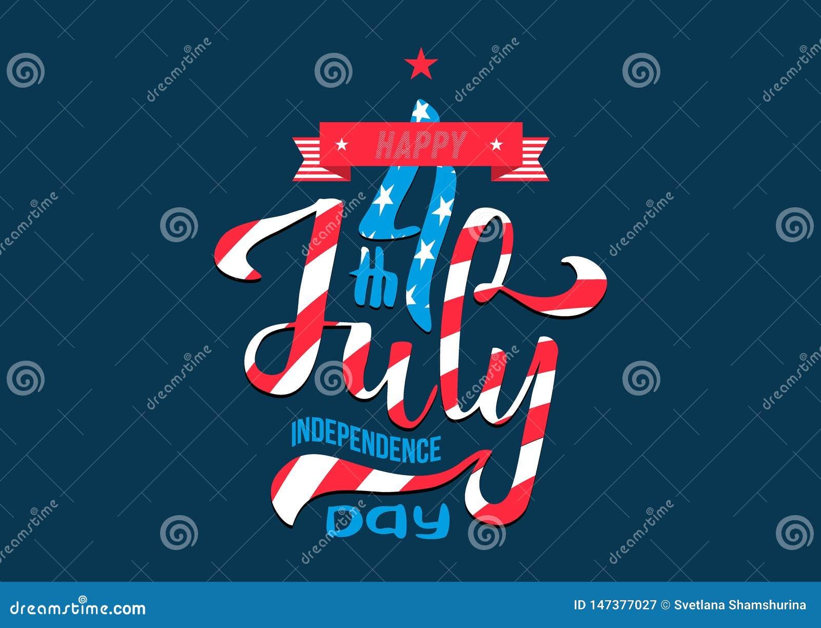 Hand som m?rker den Juli 4th sj?lvst?ndighetsdagen USA sammans?ttning f?r bokst?ver f?r Calligraphic typ f?r hand utdragen av 4th