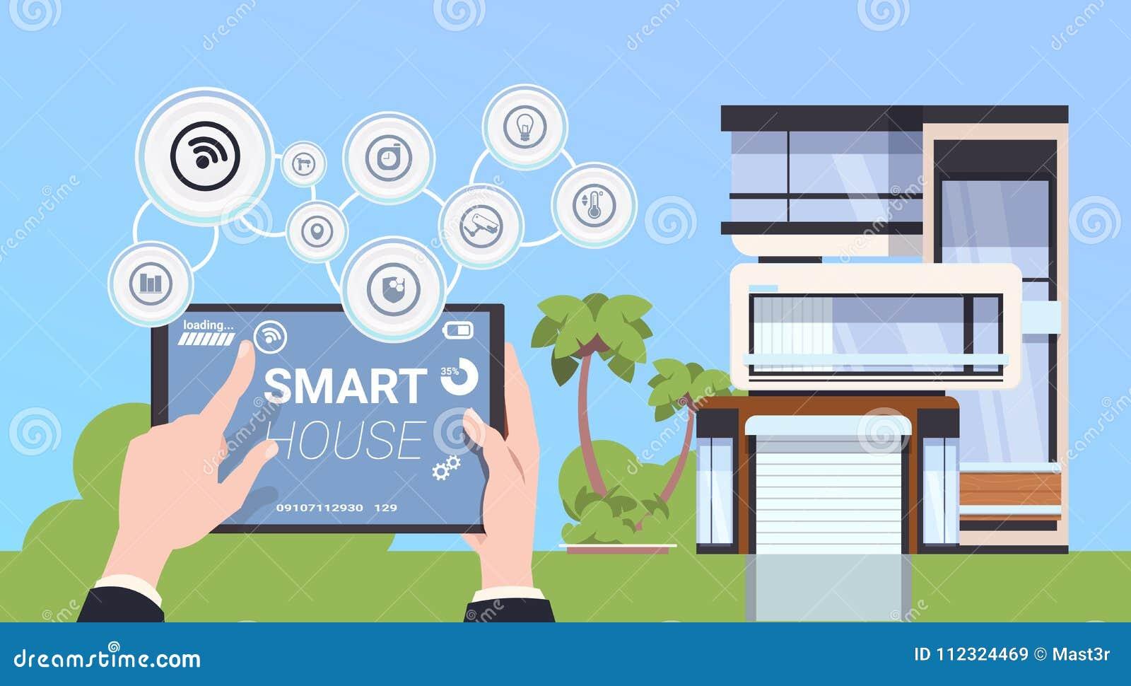 Hand som rymmer den Digital minnestavlan med begrepp för manöverenhet för system för för Smart hemkontroll och administration