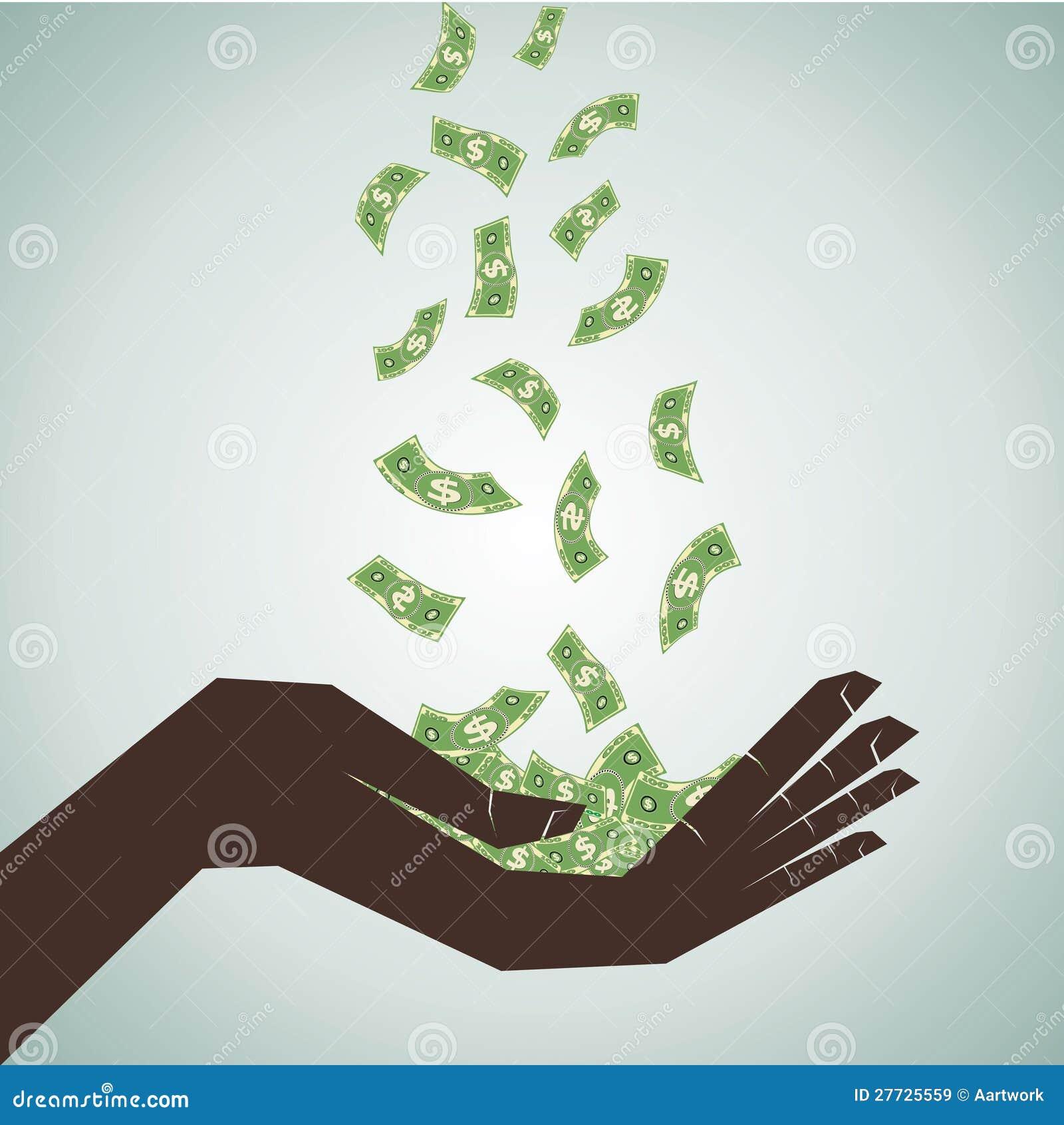 Hand sparen das fallende Geld