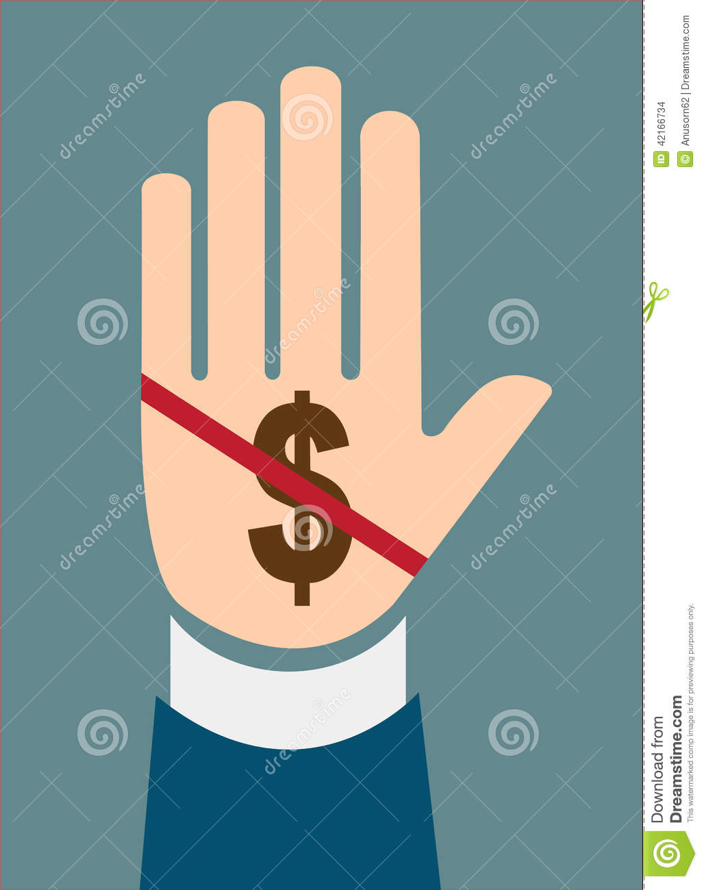 Hand stop dollar sign concept of Corruption