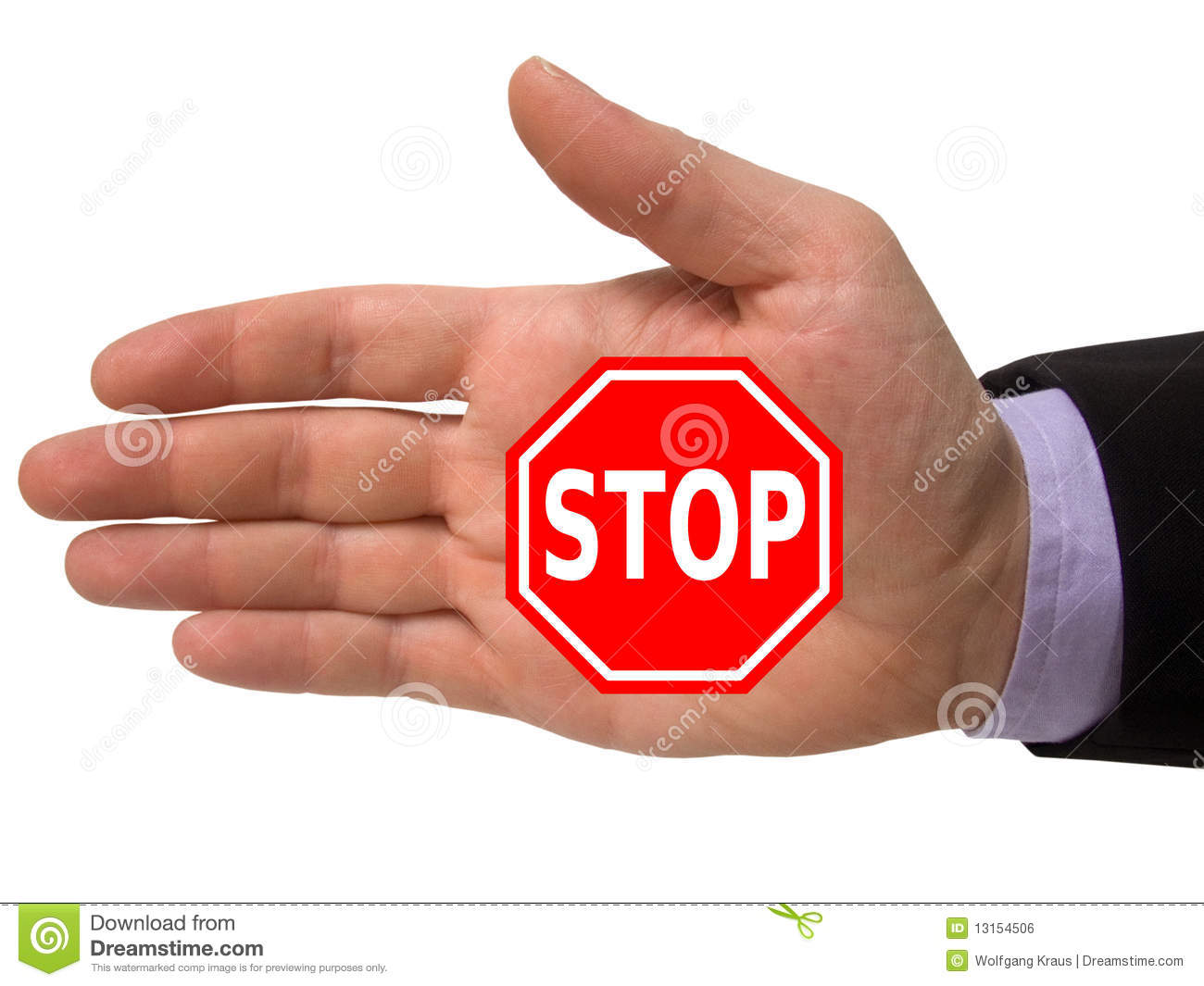 Hand With Stop Sign Royalty Free Stock Image - Image: 13154506