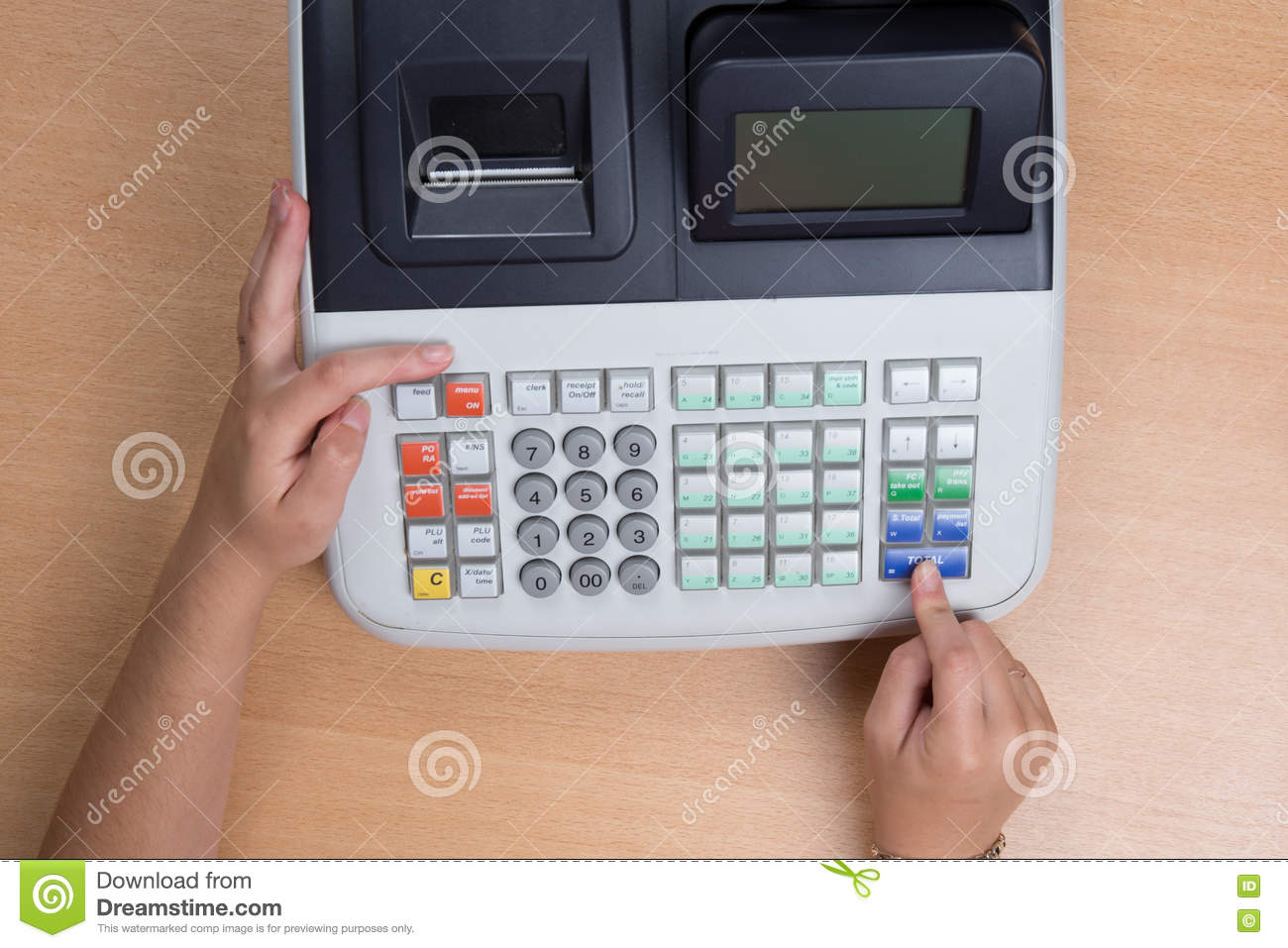hand swiping credit card in a store with cash register - Credit Card Printer